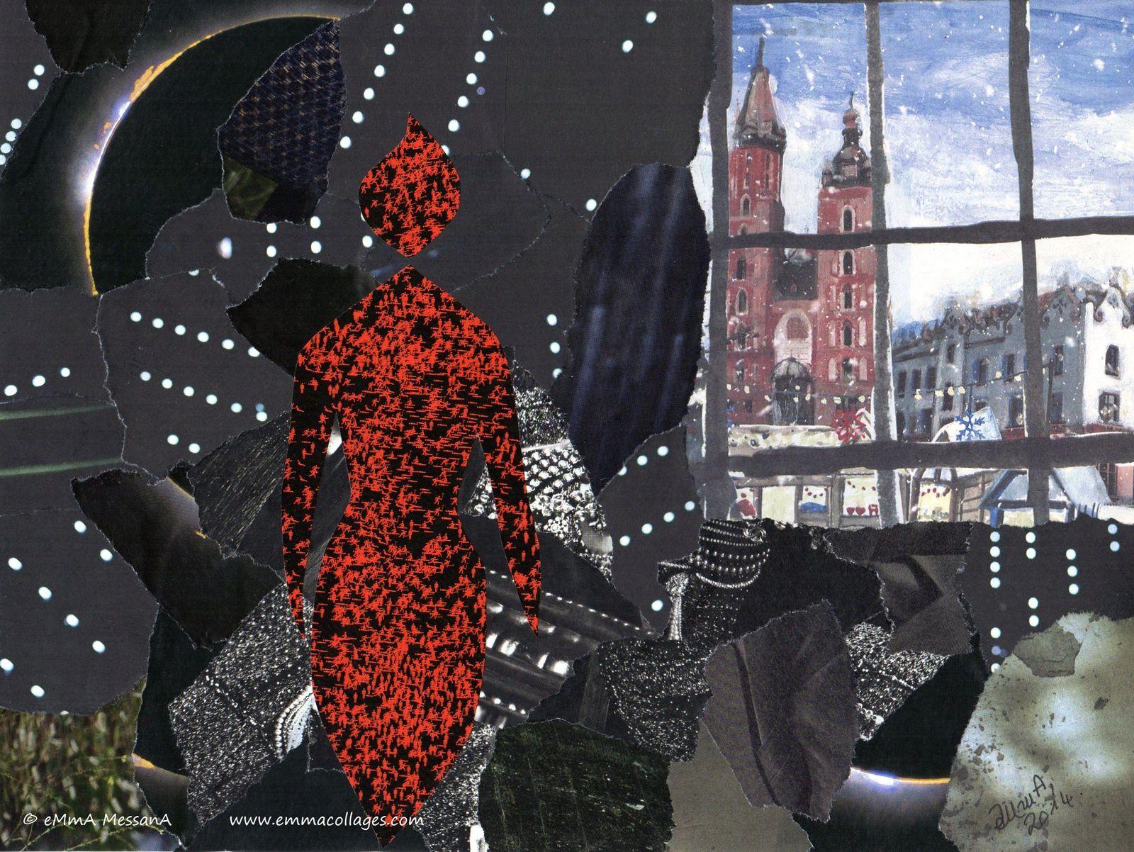 """Les Collages d'emMmA MessanA, collage """"Flocons de nuit"""", pièce unique © eMmA MessanA"""