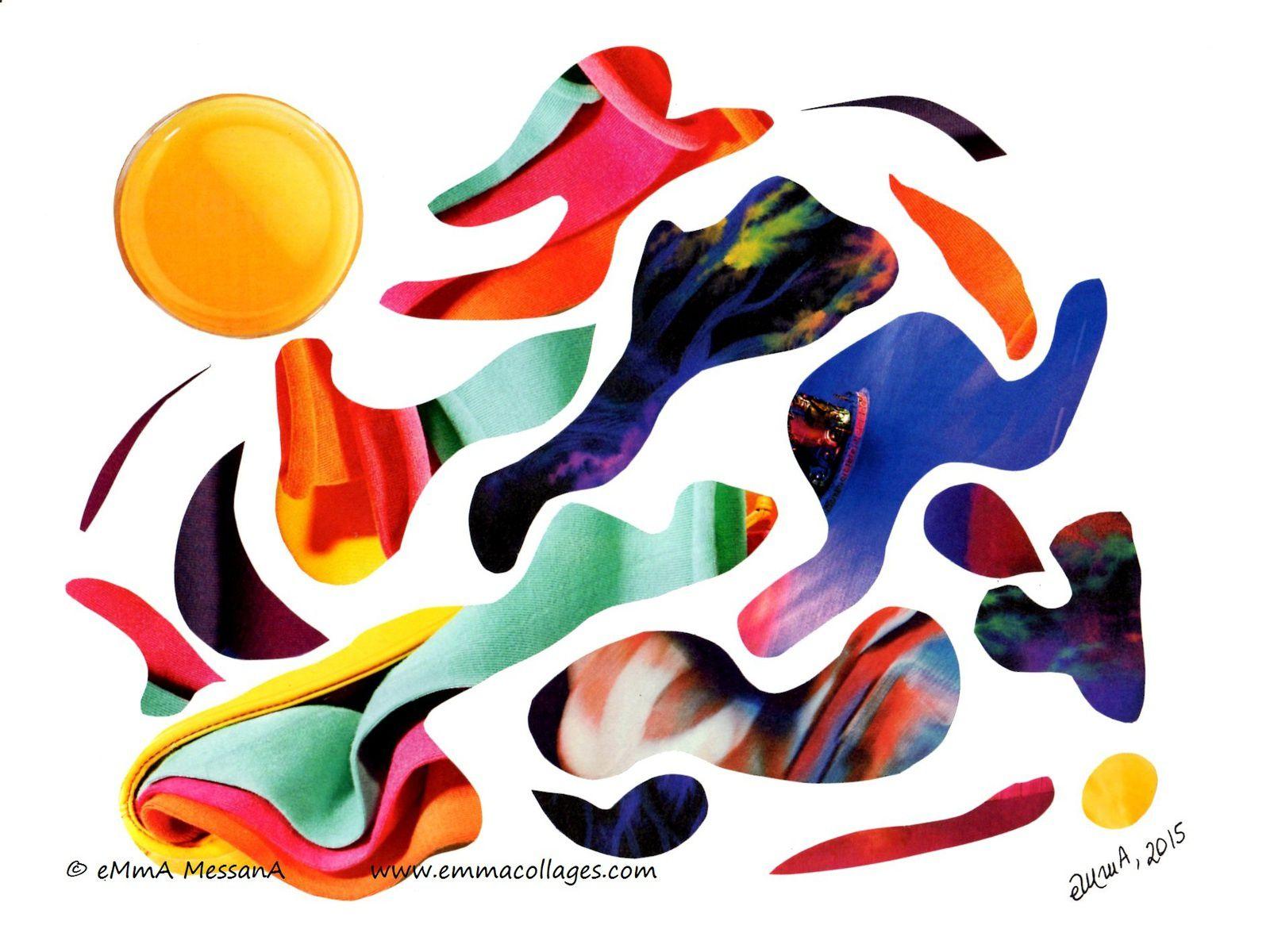 """Les Collages d'eMmA MessanA, collage """"Blop!"""", pièce unique © eMmA MessanA"""