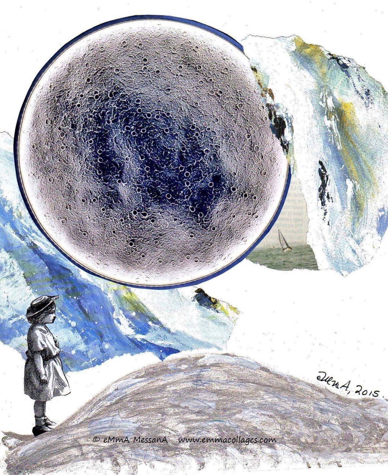 """Les Collages d'eMmA MessanA, collage """"Il était une vague"""", pièce unique © eMmA MessanA"""