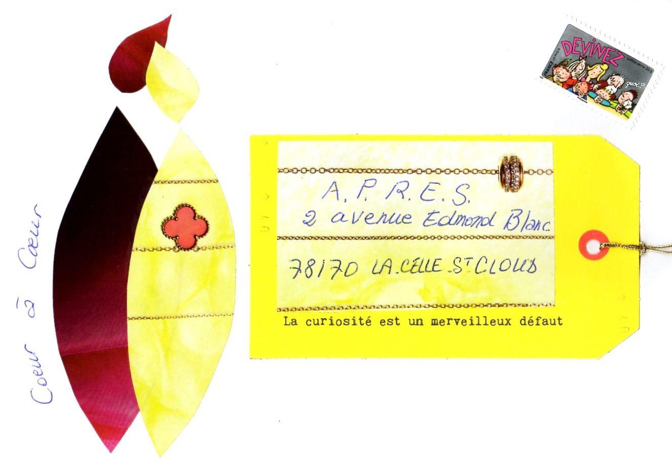 """Sur cette enveloppe Coeur à coeur : timbre """"Devinez"""" de la série """"Bonne année, toute l'année"""" (conception originale PEF, mise en page, Corinne Salvi, novembre 2014. La Poste). L'adresse est écrite sur l'étiquette du N°2 du merveilleux magazine """"Flow"""""""
