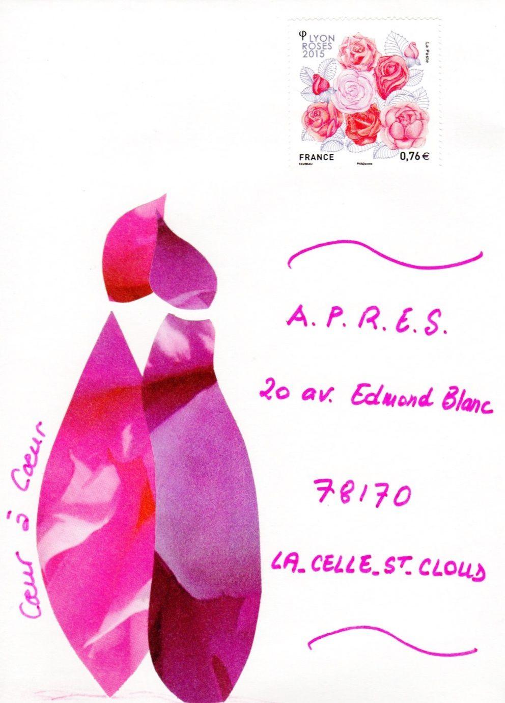 Sur cette enveloppe ♥ @ ♥ : timbre « Lyon roses 2015 ». Auteur Marion Favreau, mai 2015. La Poste