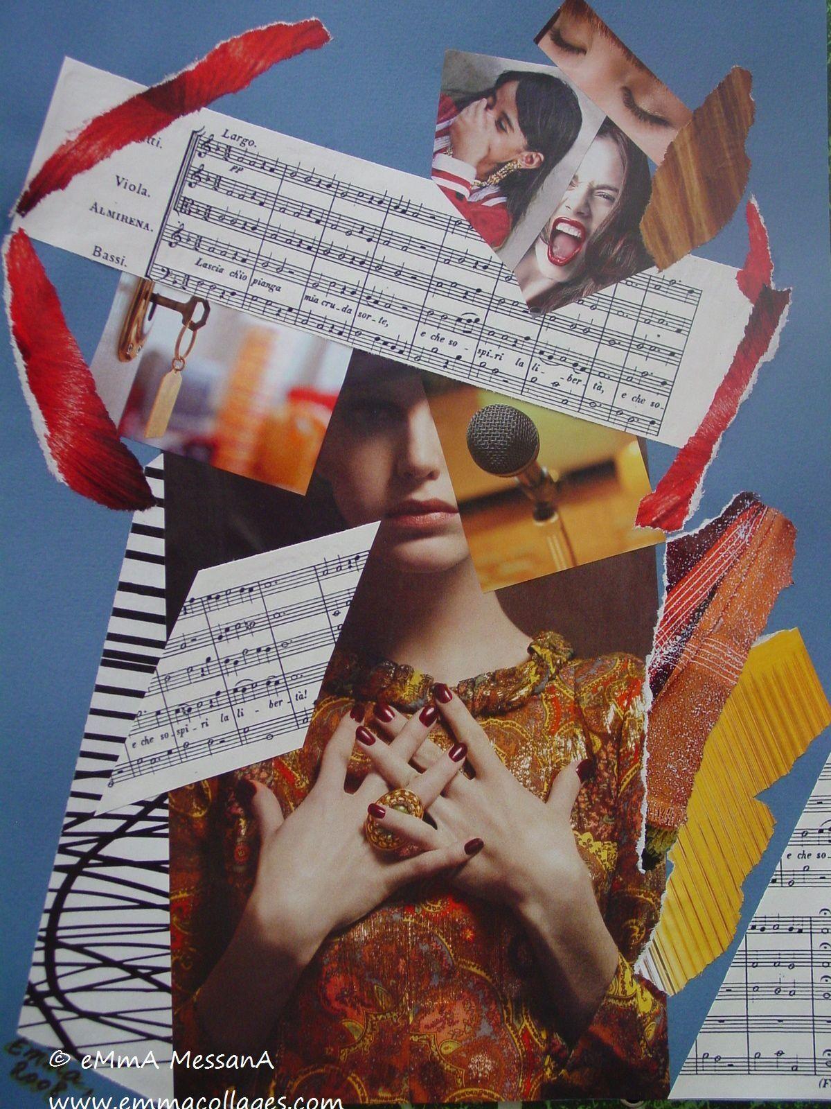 """Les Collages d'eMmA MessanA, collage """"Voix"""", pièce unique"""