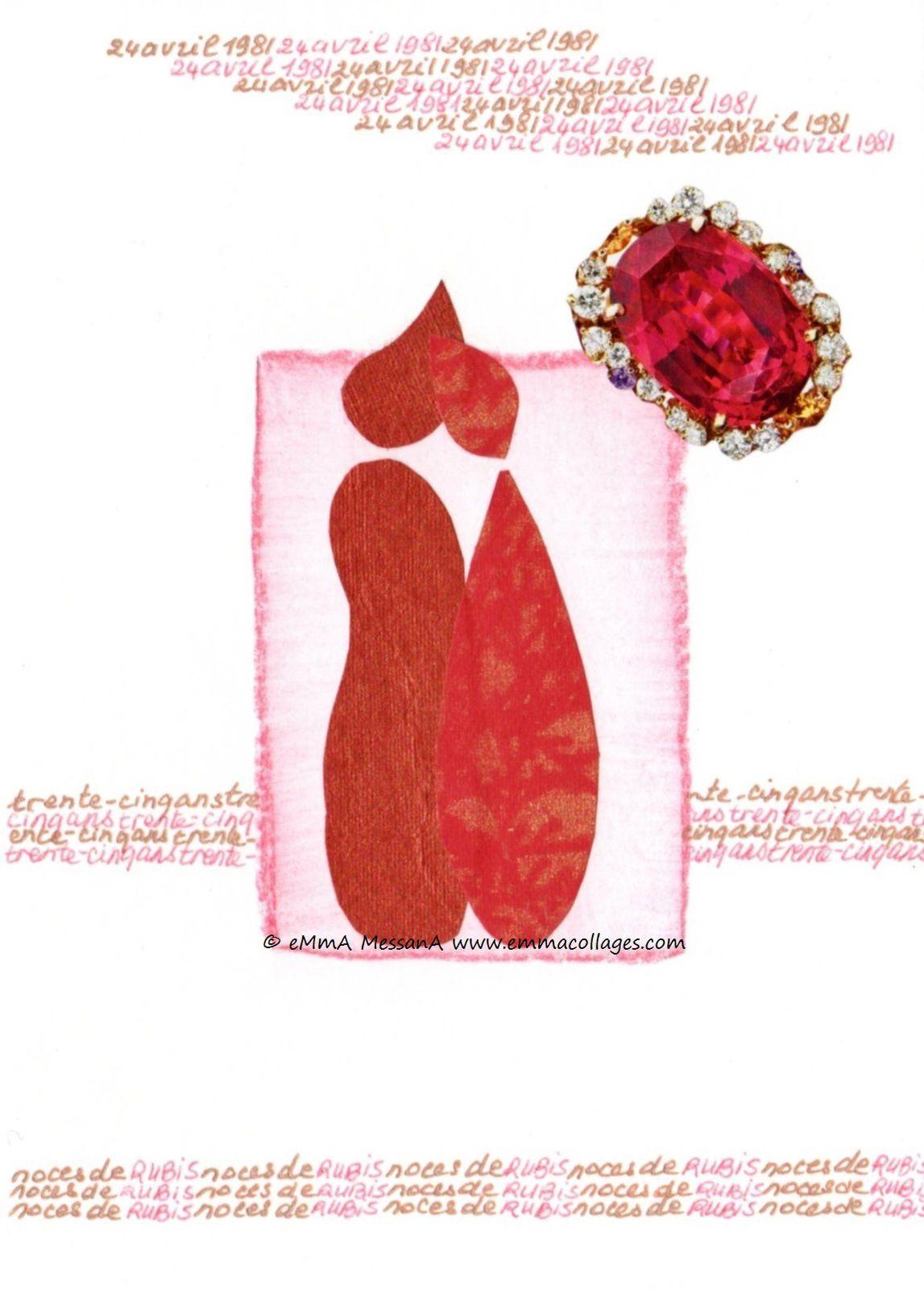 """Les Collages d'eMmA MessanA, collage """"Noces de rubis"""", pièce unique"""