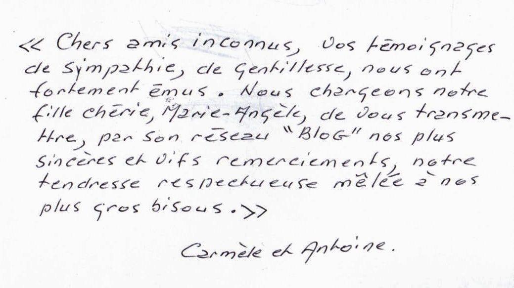 Message pour vous de la part de mes parents, Carmèle et Antoine Frau