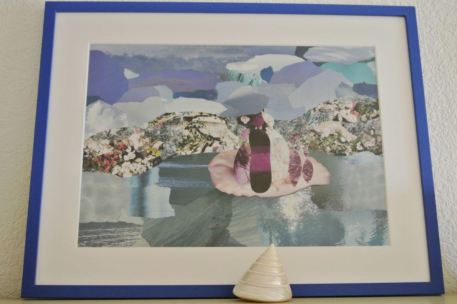 """Les Collages d'eMmA MessanA, collage encadré """"Le chemin de nacre"""", pièce unique © eMmA MessanA"""