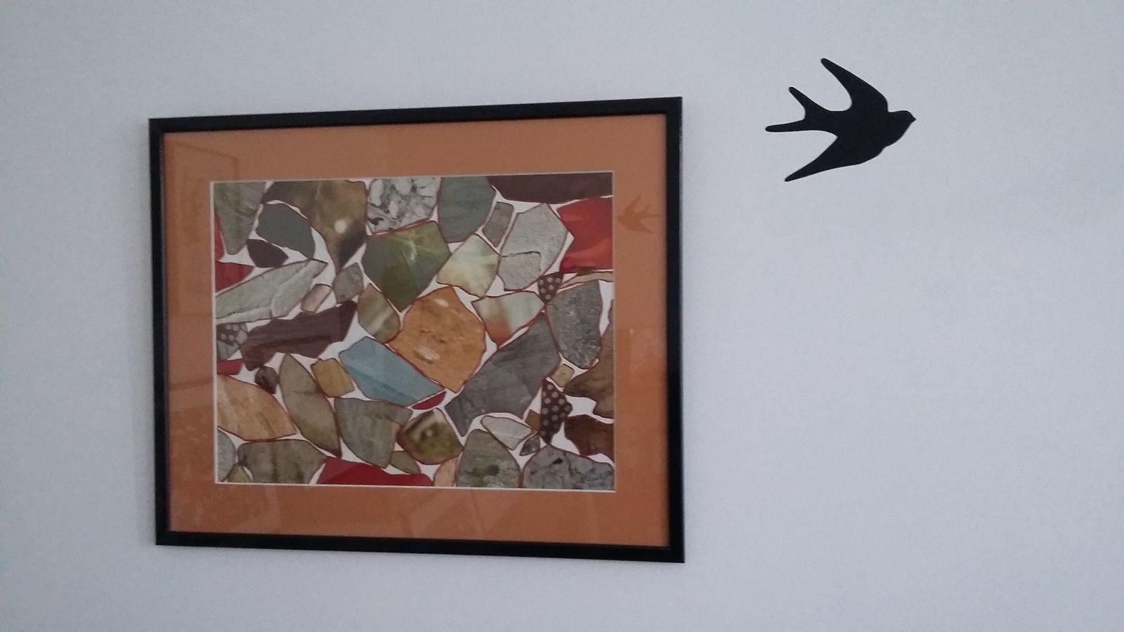"""Les Collages d'eMmA MessanA, collage """"Fait d'été"""" encadré, pièce unique © eMmA MessanA"""