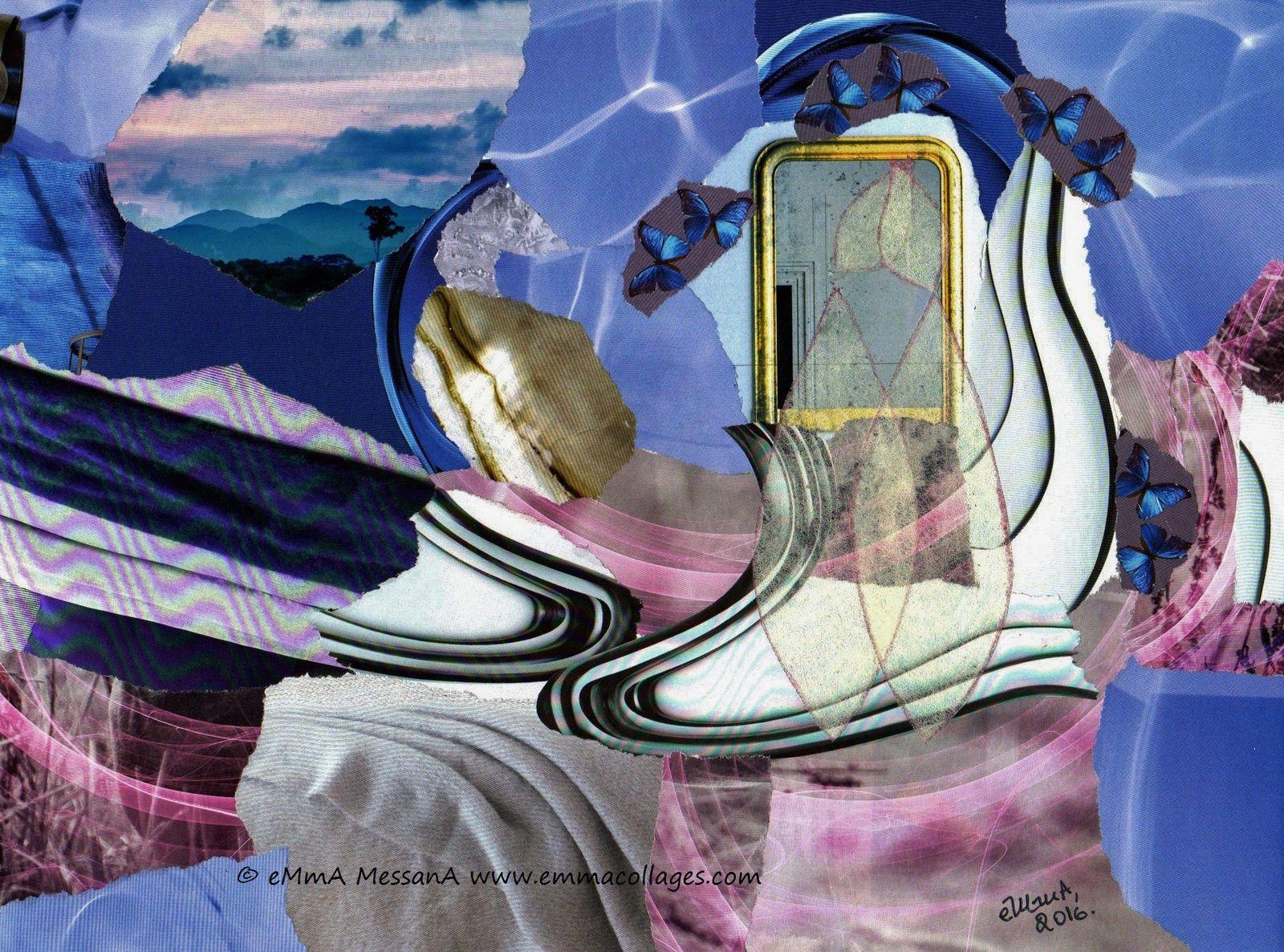 """Les Collages d'eMma MessanA, collage """"La transmarence du miroir"""", pièce unique"""