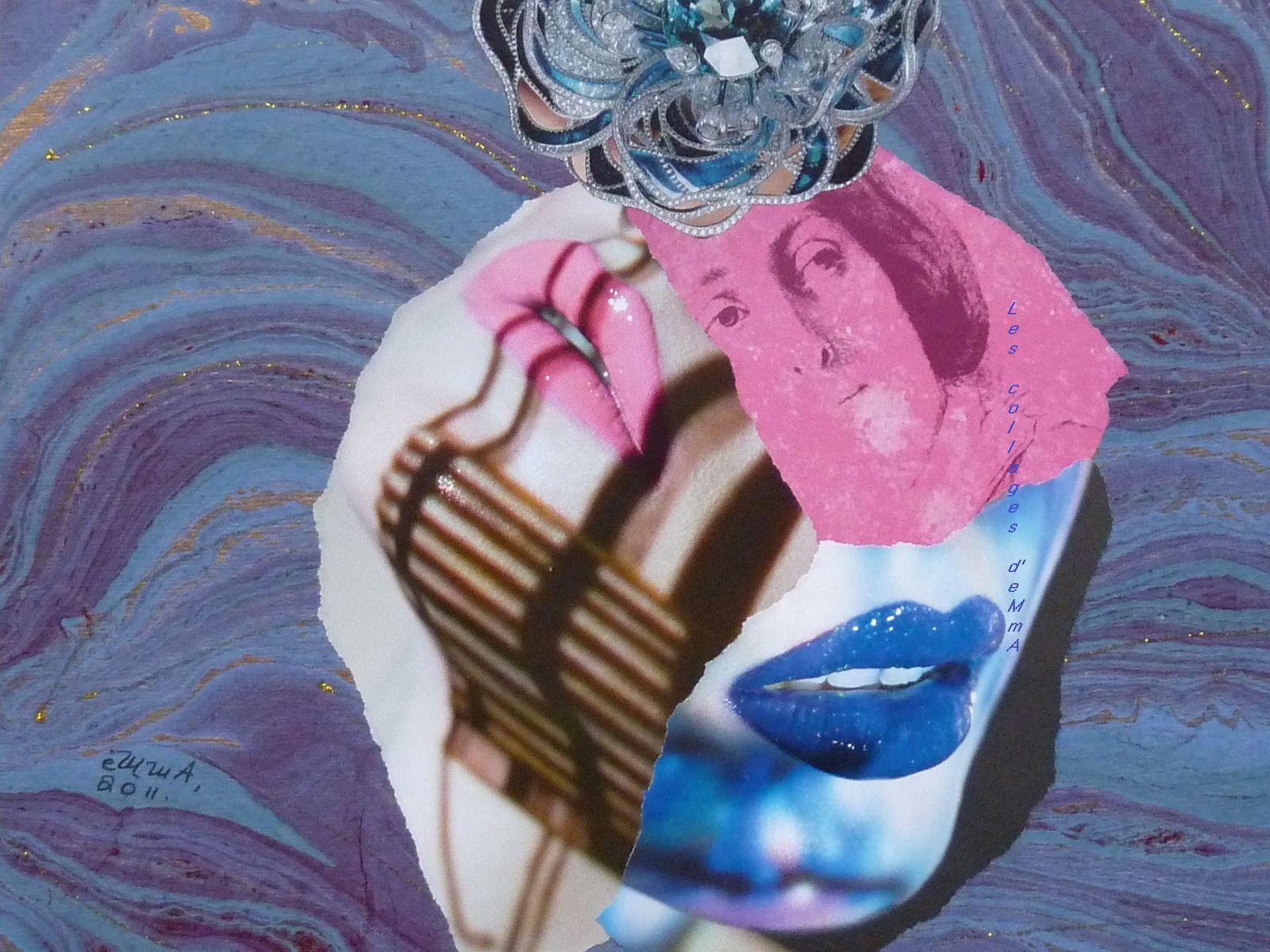 """Les Collages d'eMmA MessanA, collage """"L'Amuse Bouche"""", pièce unique © eMmA MessanA"""