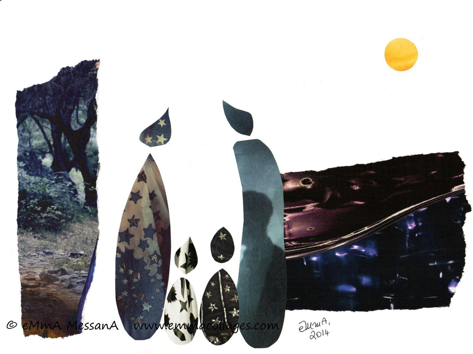 """Les Collages d'eMmA MessanA, collage """"Pleine lune"""", pièce unique"""