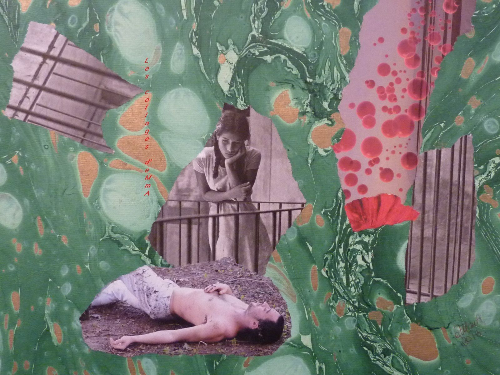 "Les Collages d'eMmA MessanA, collage ""Le songe de la muse"", pièce unique © eMmA MessanA"