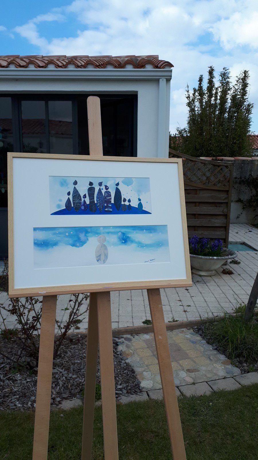 """Les Collages d'eMmA MessanA. Collages """"Laver les chagrins"""" et """"Bonhomme de neige"""", pièces uniques © eMmA MessanA"""
