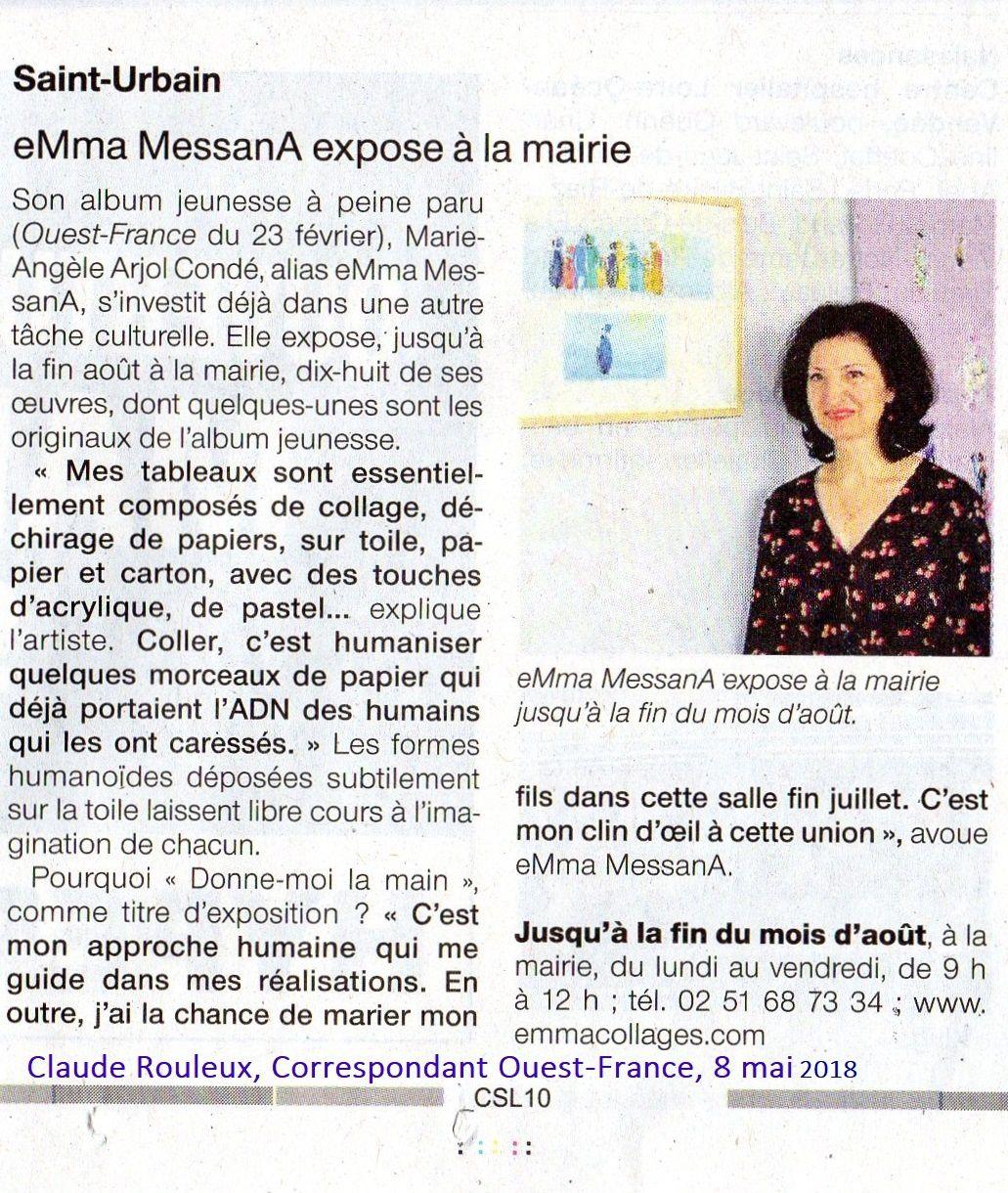 Un clic sur l'image pour mieux visualiser. Article Claude Rouleux, Ouest-France 8 mai 2018. Expo collages eMmA MessanA jusqu'au 31 août 2018
