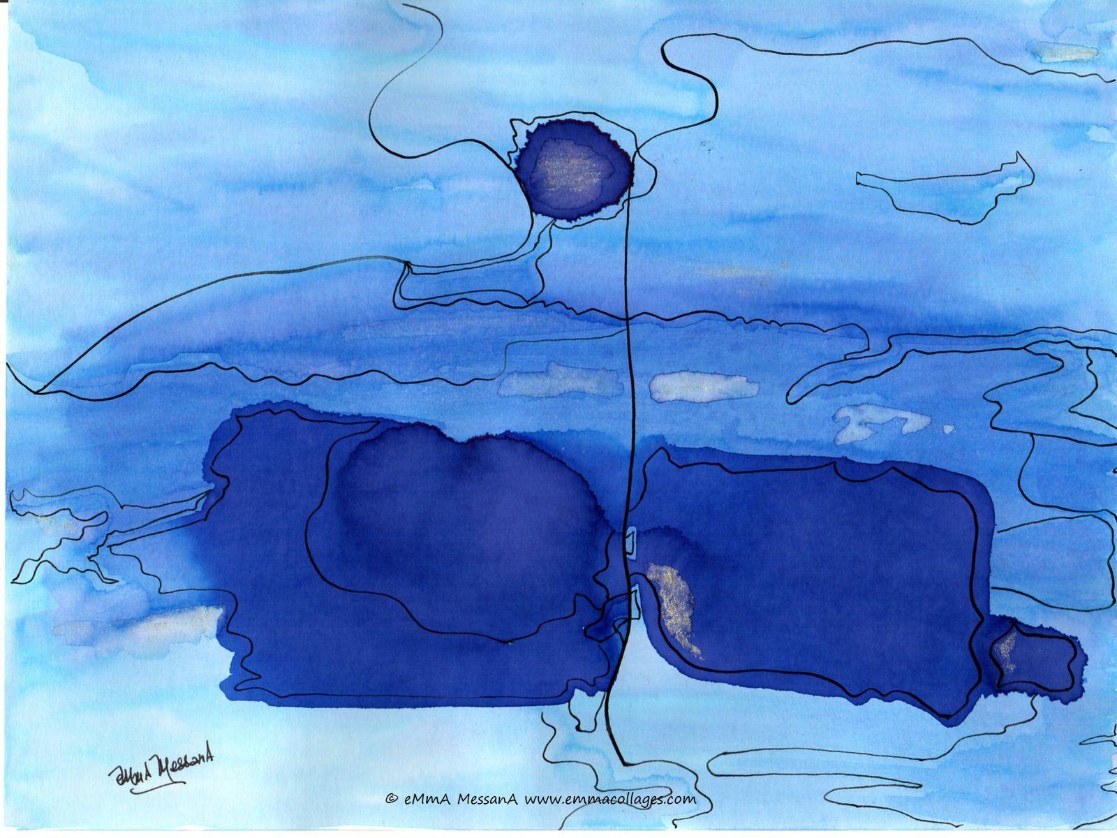 """Les Collages d'eMmA MessanA, encre """"Cartographie azurée"""", pièce unique  © eMmA MessanA"""