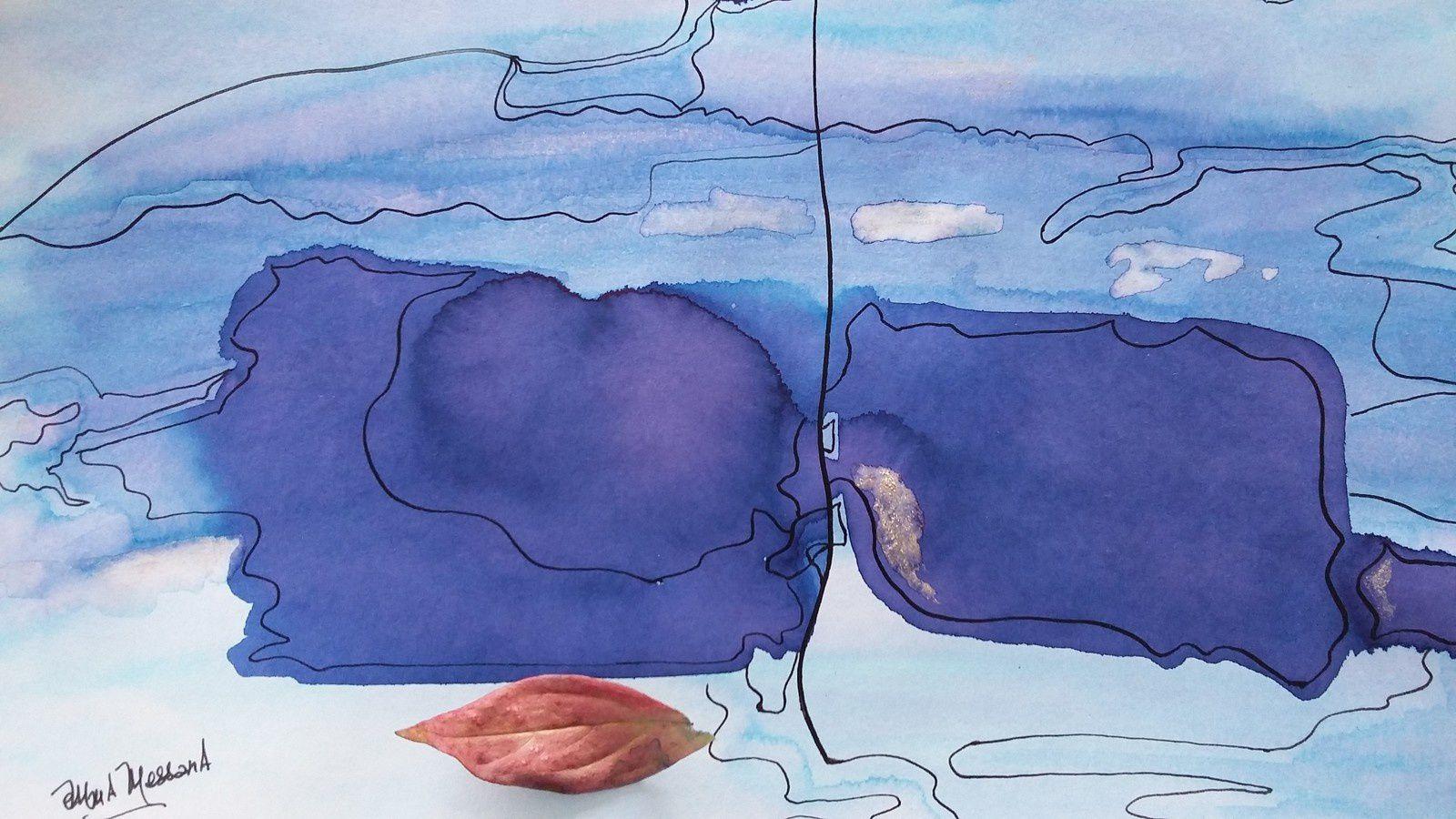 """Fragment d'une encre N°324 """"Cartographie azurée"""" © eMmA MessanA"""