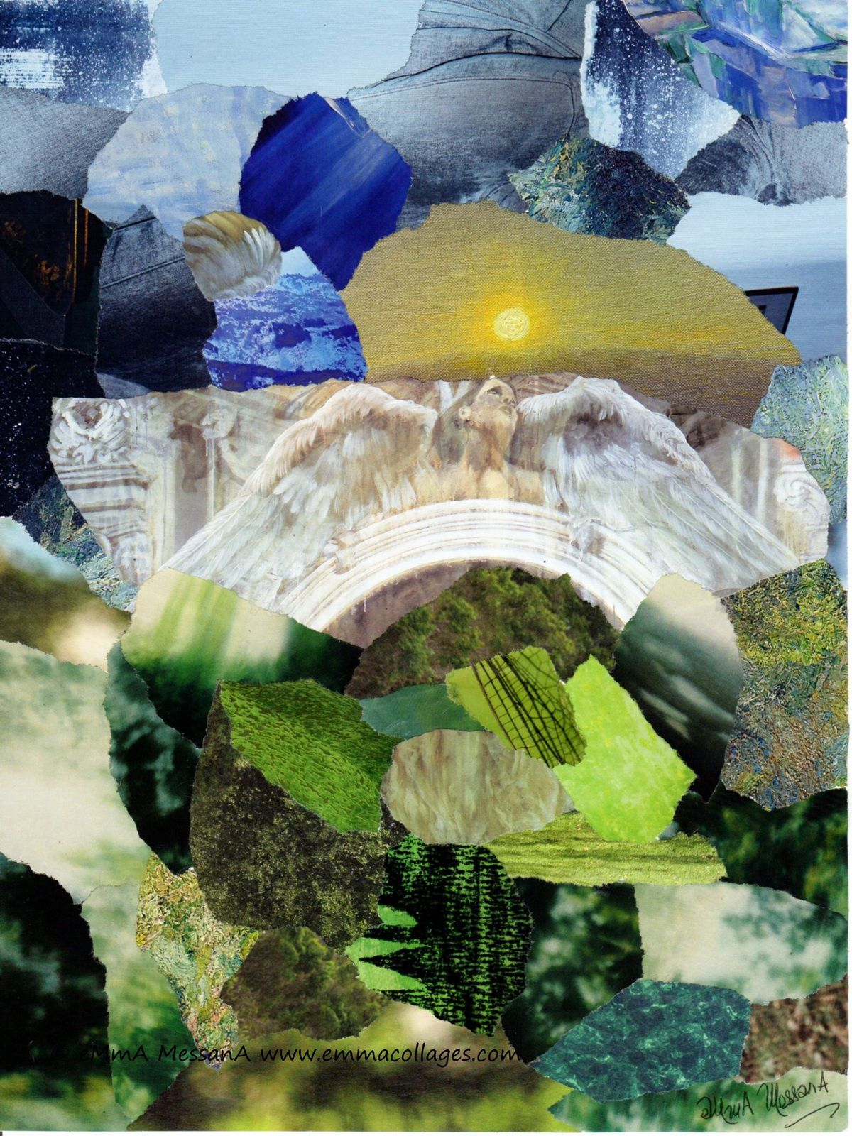 "Les Collages d'eMmA MessanA, collage N°382 ""Reprise du dialogue"", pièce unique © eMmA MessanA"
