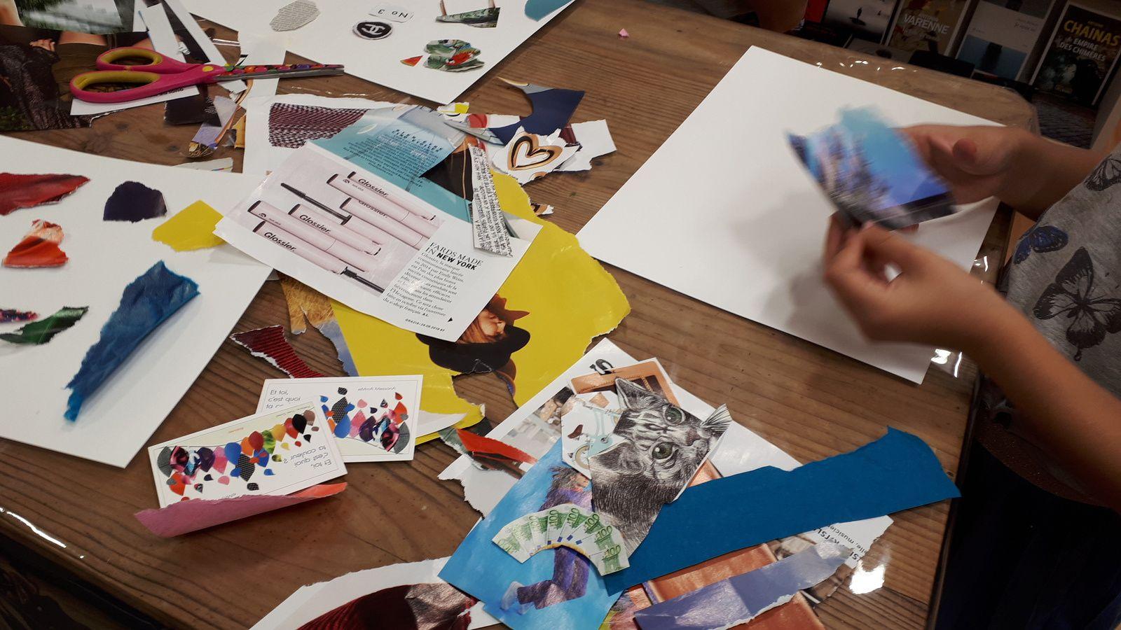 26 septembre 2018 - Atelier collages animé par eMmA MessanA à la librairie Au chat lent à Challans
