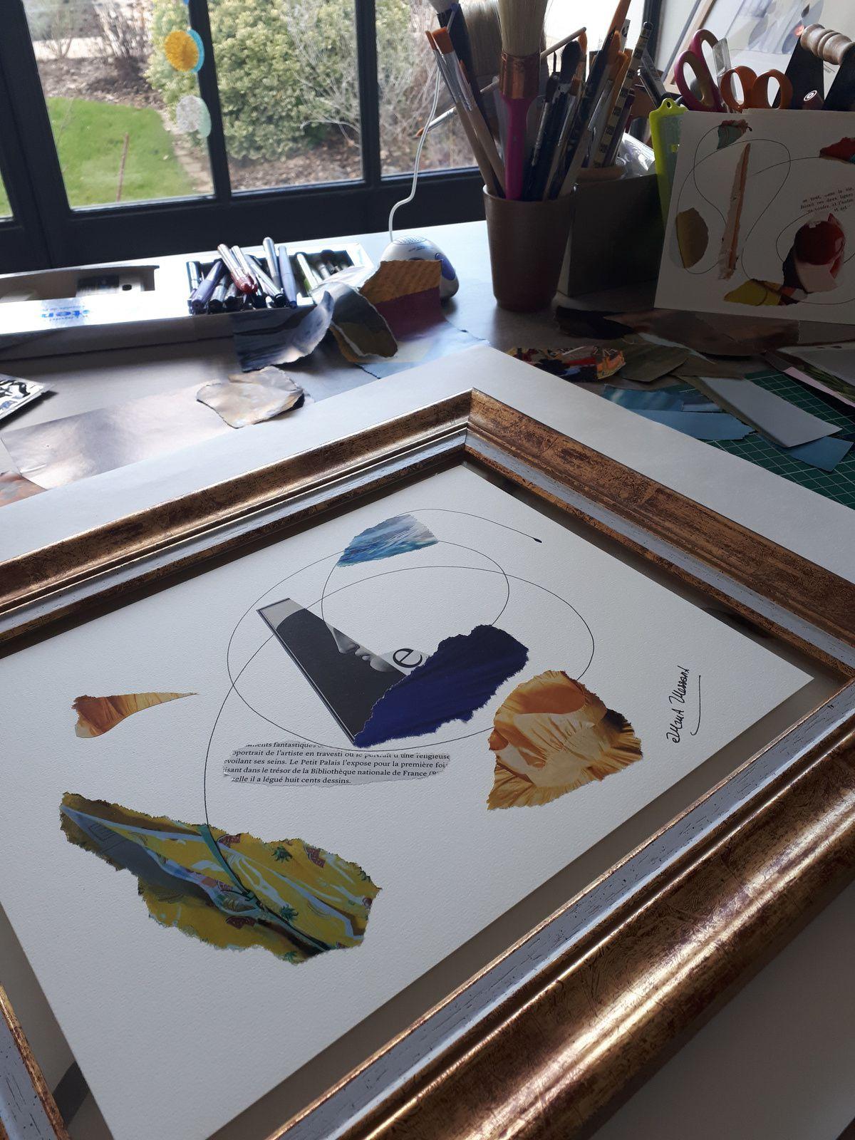 """Les Collages d'eMmA MessanA, collage N°386 """"eMmAbécédaire E"""" à peine terminé, dans l'atelier, pièce unique © eMmA MessanA"""