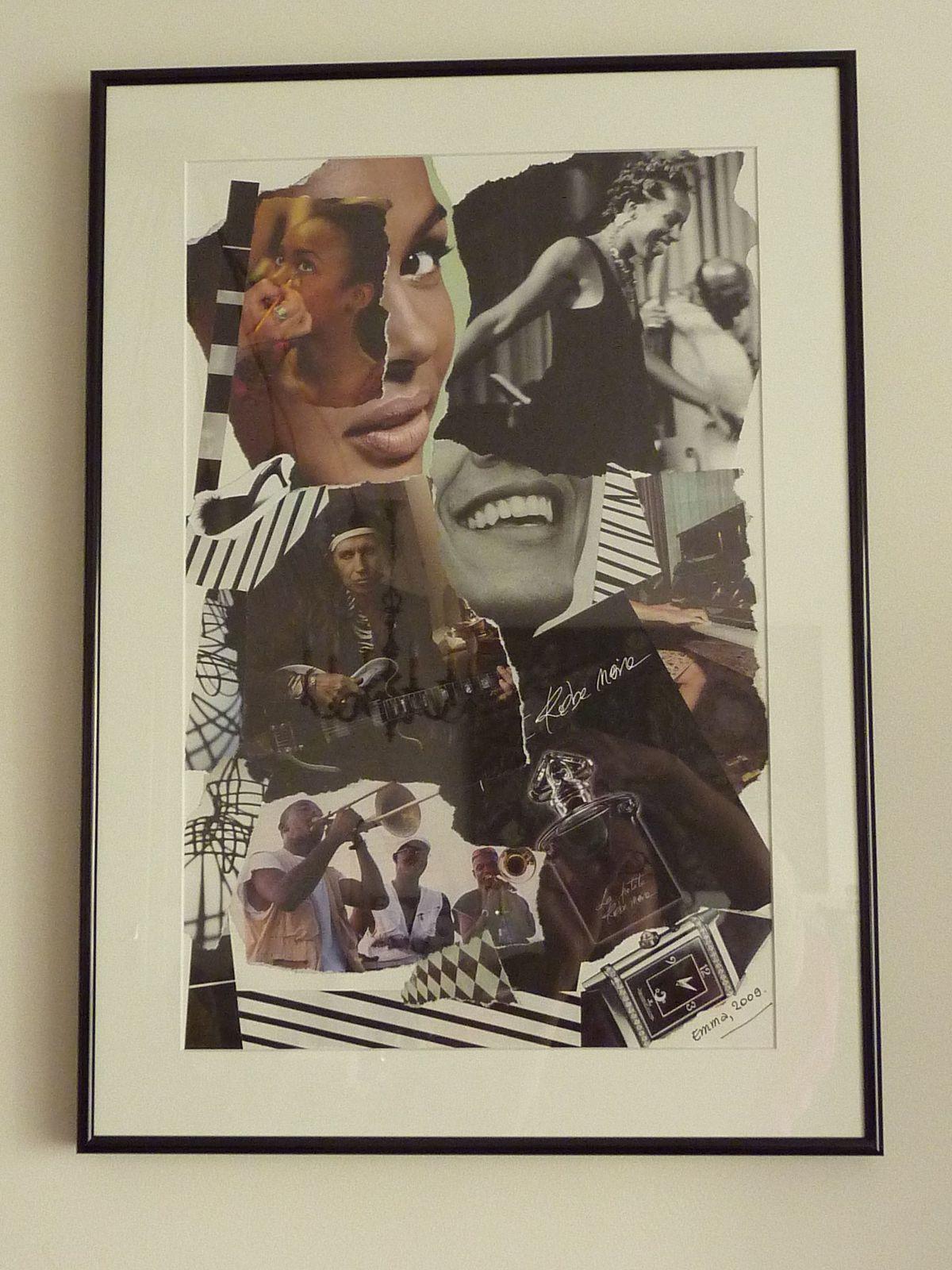 """Les Collages d'eMmA MessanA, collage """"Paint it black"""" encadré, pièce unique © eMmA MessanA"""