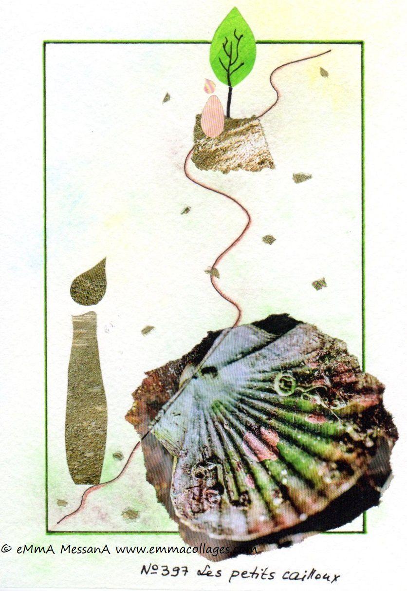 """Les Collages d'eMmA MessanA, collage N°397 """"Les petits cialloux"""", pièce unique © eMmA MessanA"""