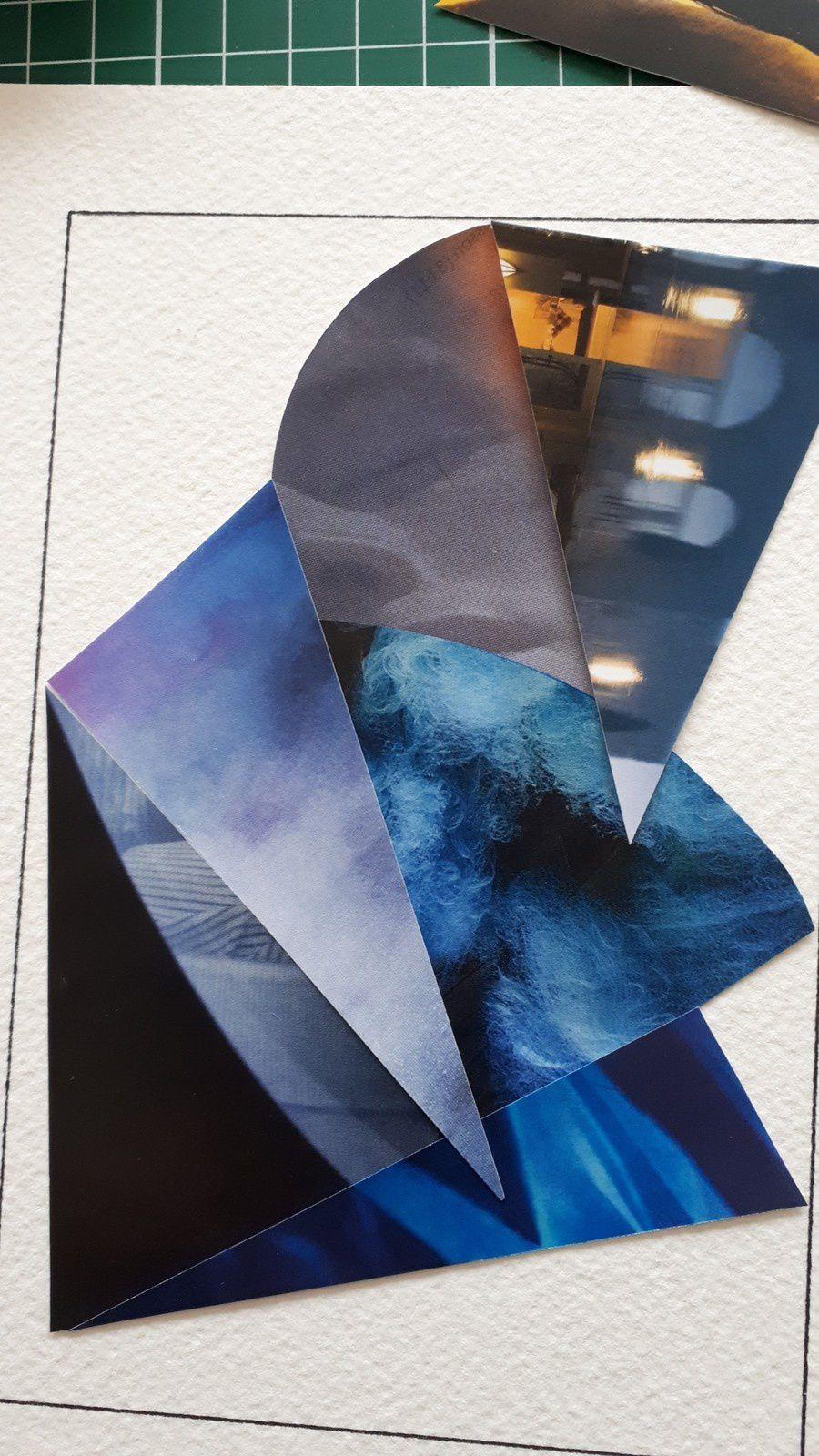 """Les Collages d'eMmA MessanA, évolution du collage N°395 """"Paradoxal"""" jusqu'au collage définitif, pièce unique © eMmA MessanA"""