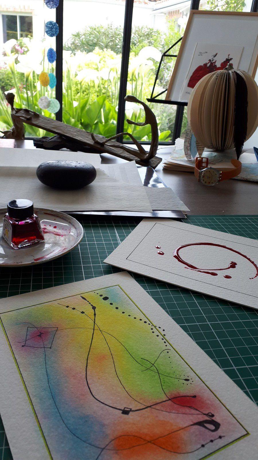 """Les Collages d'eMmA MessanA, dans l'atelier le collage/encres/pastels N°408 """"Poussières"""", pièce unique © eMmA MessanA"""