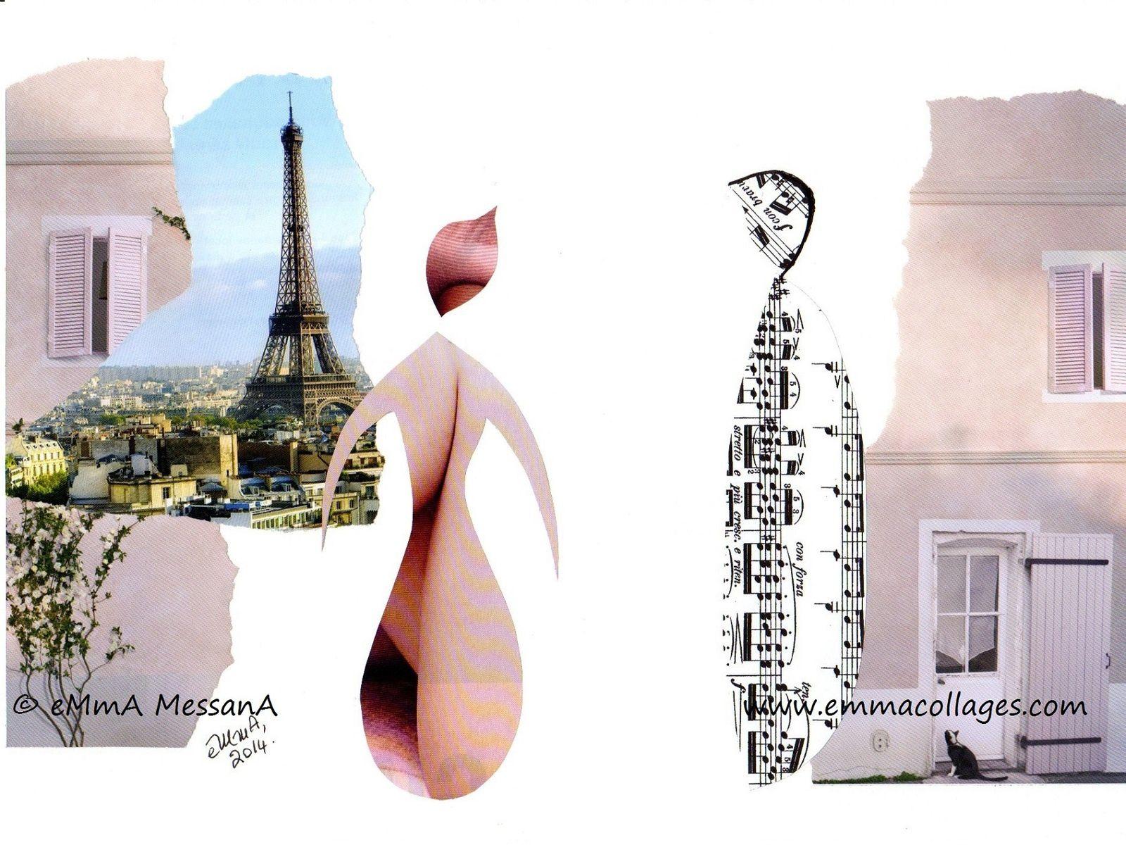"""Les Collages d'eMmA MessanA, collage N°262 """"Une rencontre"""", pièce unique  © eMmA MessanA"""