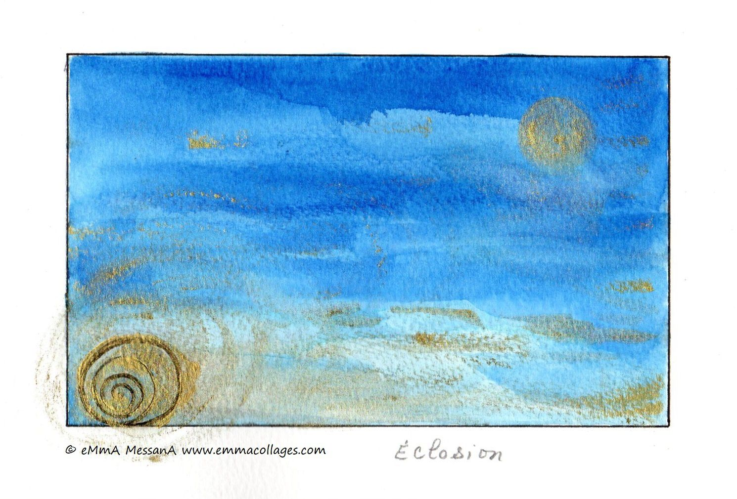 """Les Collages d'eMmA MessanA, encre N°416 """" Éclosion"""", pièce unique © eMmA MessanA"""