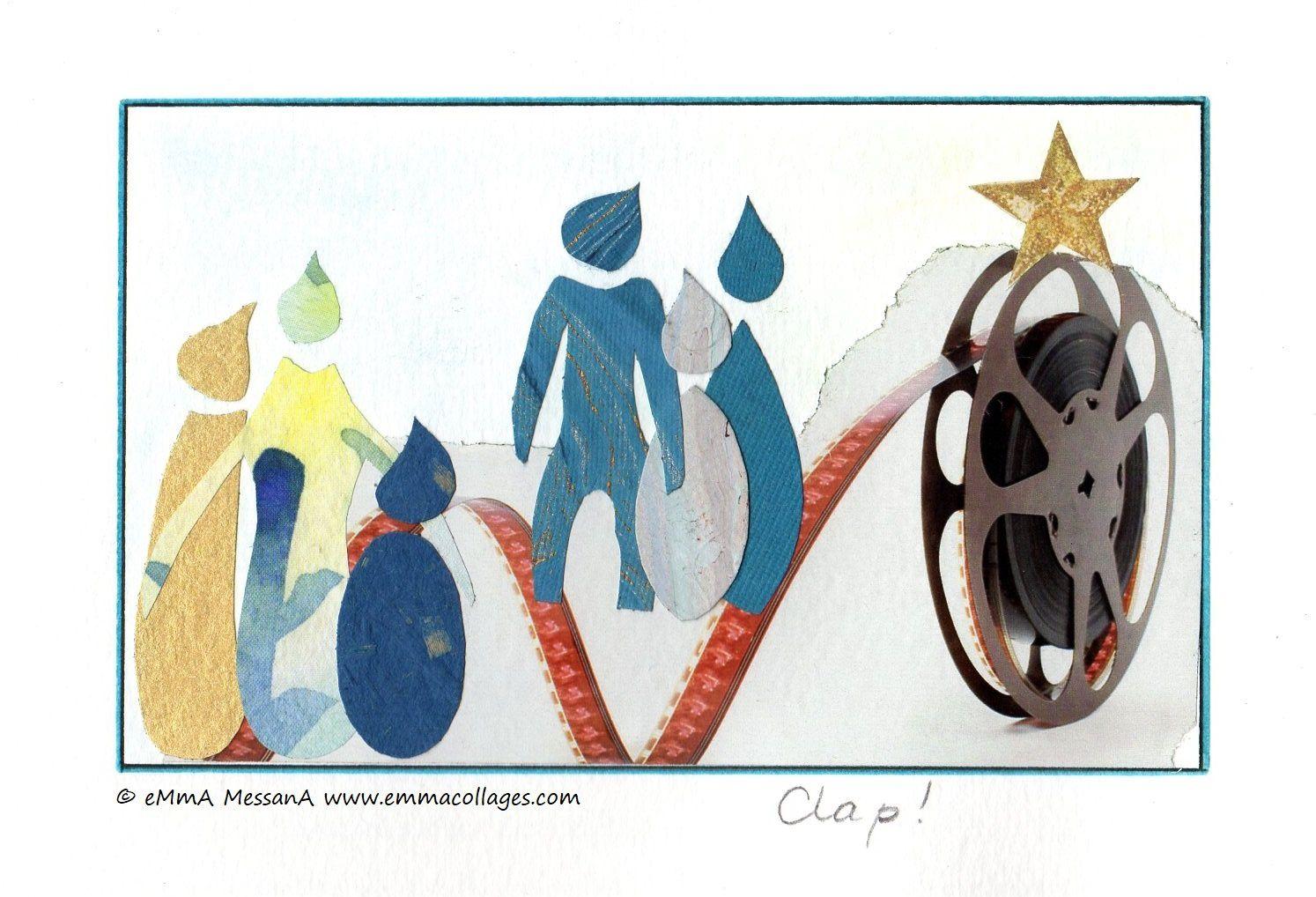 """Les Collages d'eMmA MessanA, collage N°427 """"Clap !"""", pièce unique © eMmA MessanA"""