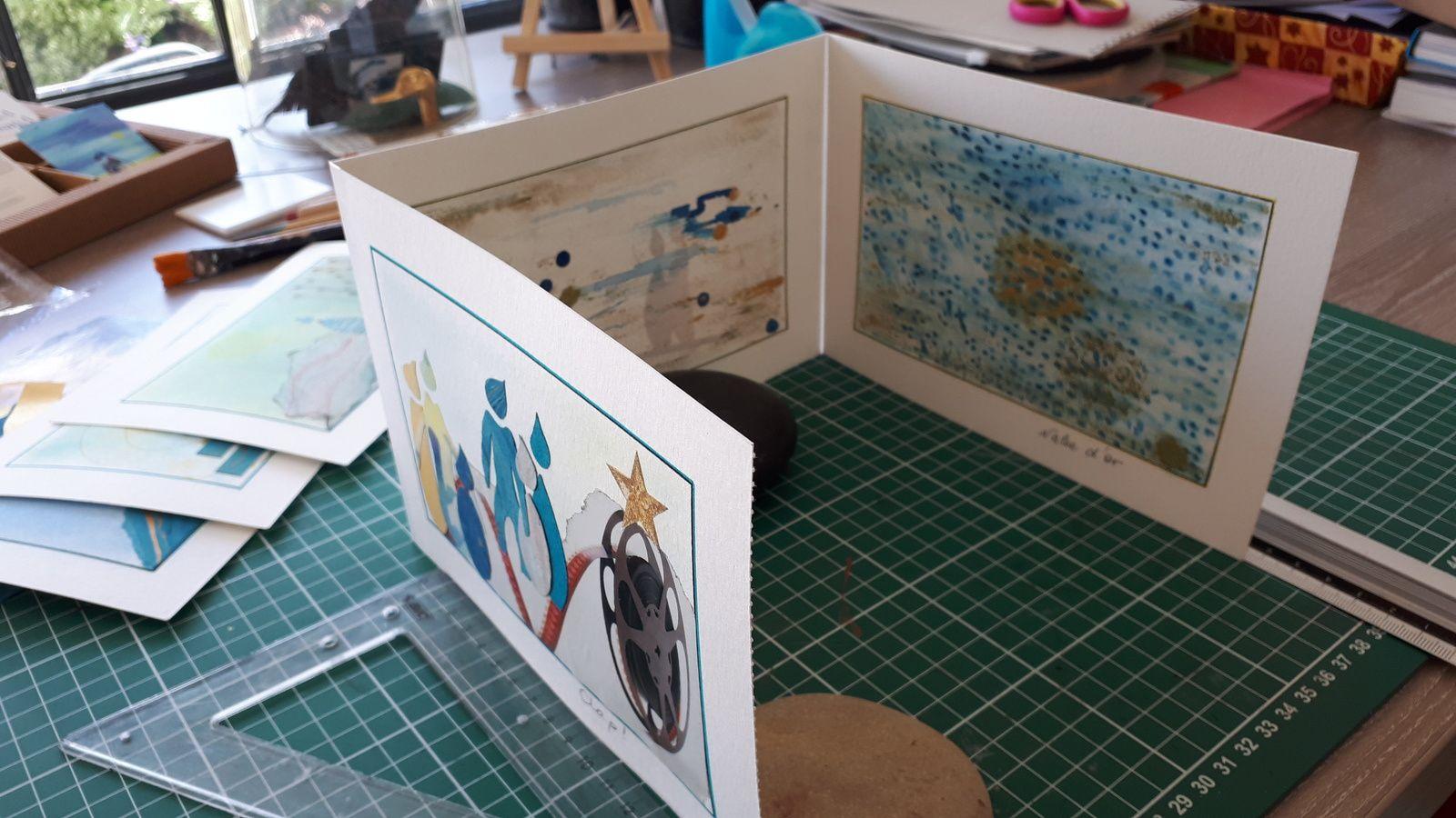"""Les Collages d'eMmA MessanA, 18 août 2019 dans l'atelier, début de l'assemblage du livre-objet """"Ruhe"""" © eMmA MessanA"""