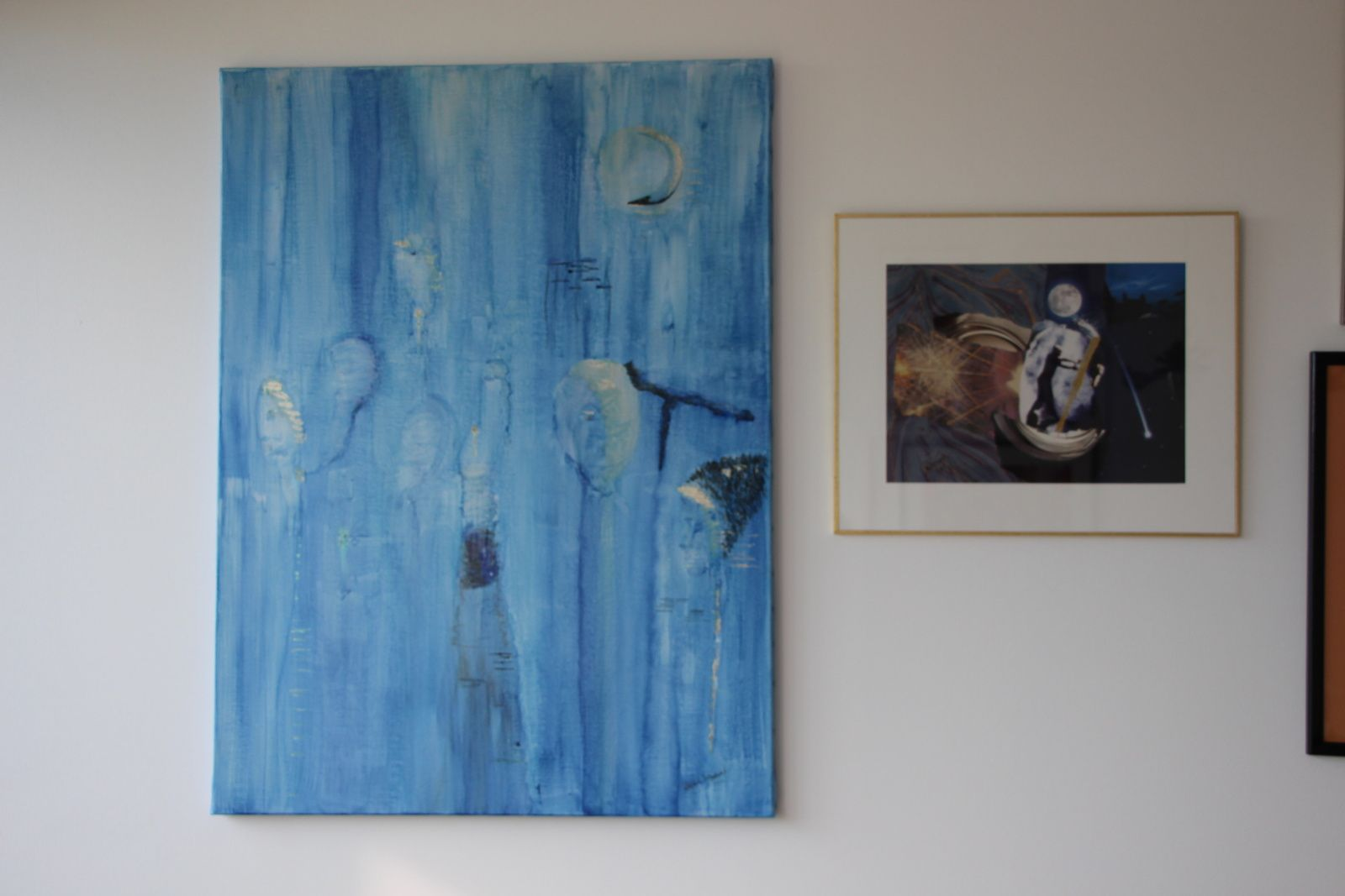 """Les Collages d'eMmA MessanA, encre N°322 """"Regards d'eux"""" et collage N°167 """"Le crépuscule des cieux"""", pièces uniques © eMmA MessanA"""