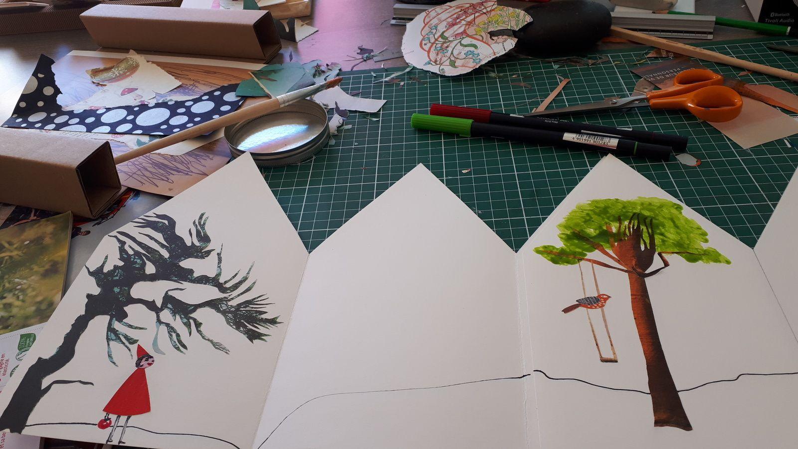 Les Collages d'eMmA MessanA, 13 septembre 2019 à l'atelier, suite de la création du nouveau livre-accordéon maison...