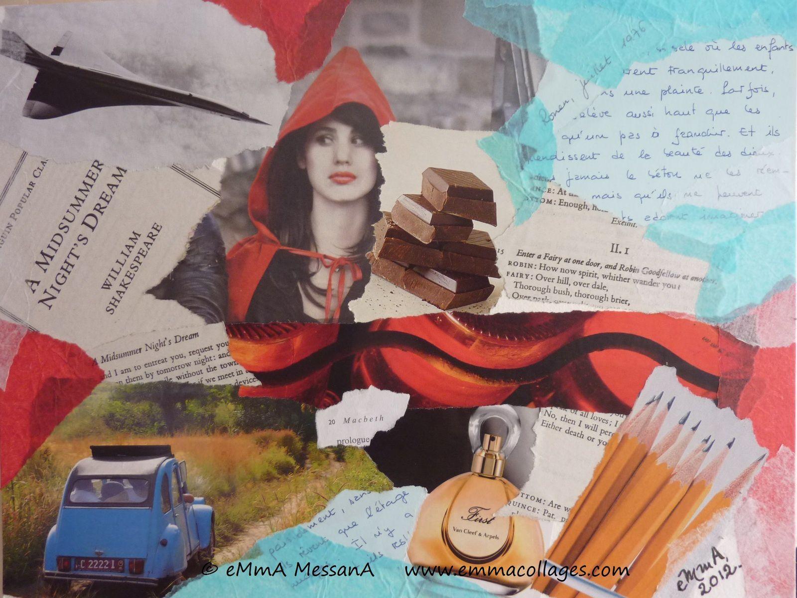 """Les Collages d'eMmA MessanA, collage N°182 """"1976, être ou ne pas être prof d'anglais"""", exemplaire unique © eMmA MessanA"""
