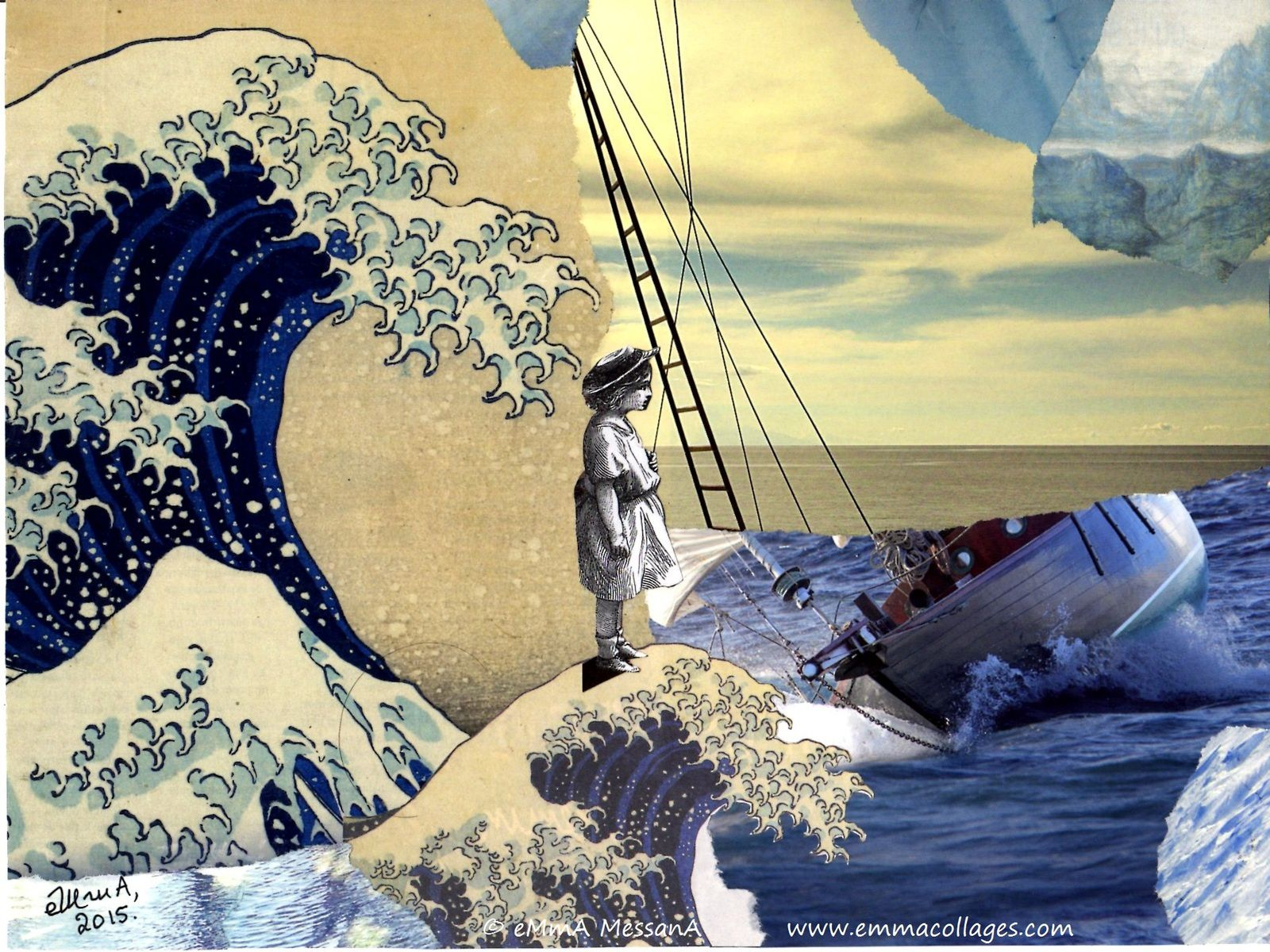 """Les Collages d'eMmA MessanA, collage """"La vague merveilleuse"""", exemplaire unique © eMmA MessanA"""