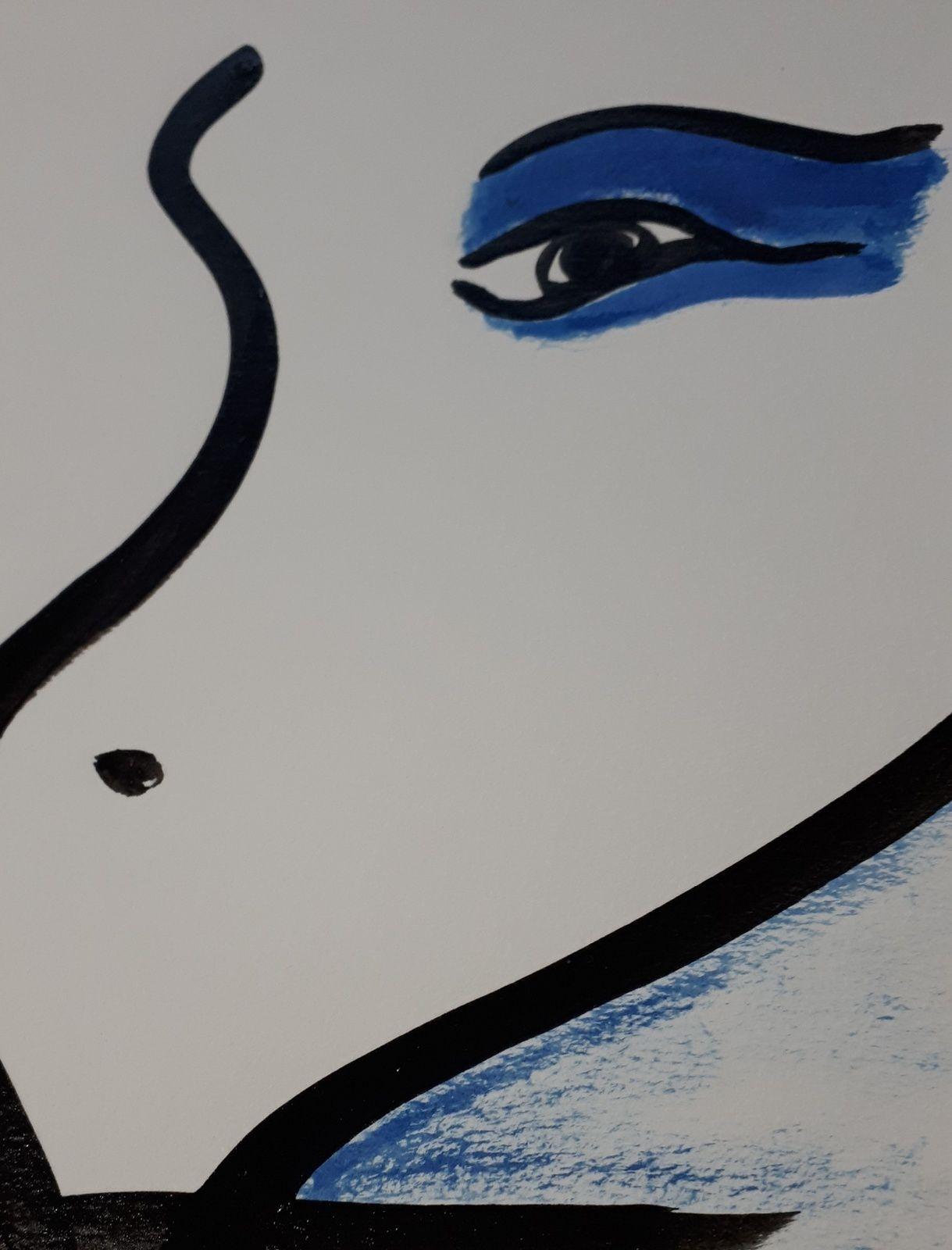 """Les Collages d'eMmA MessanA, encre/pastels. Détail du N°439 """"Ancrage III"""", pièce unique © eMmA MessanA"""