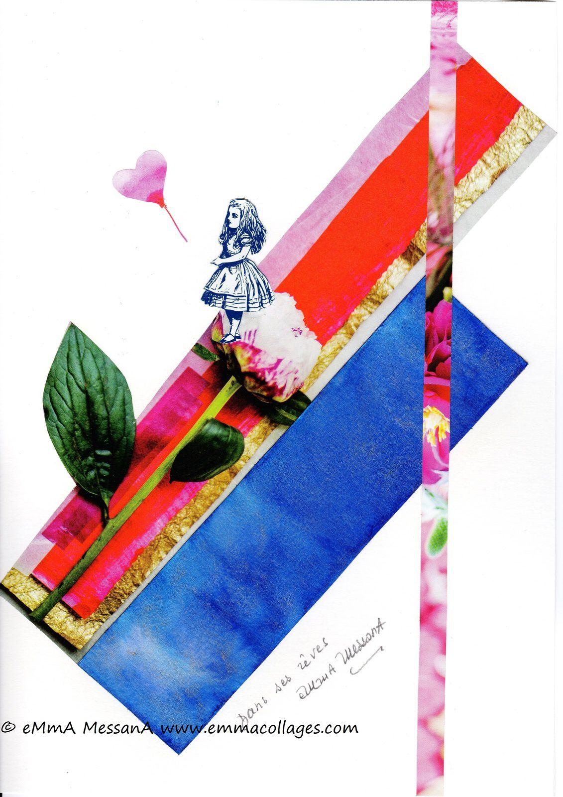 """Les Collages d'eMmA MessanA, collage N°443 """"Dans ses rêves"""", exemplaire unique de la série """"Alice"""" © eMmA MessanA"""