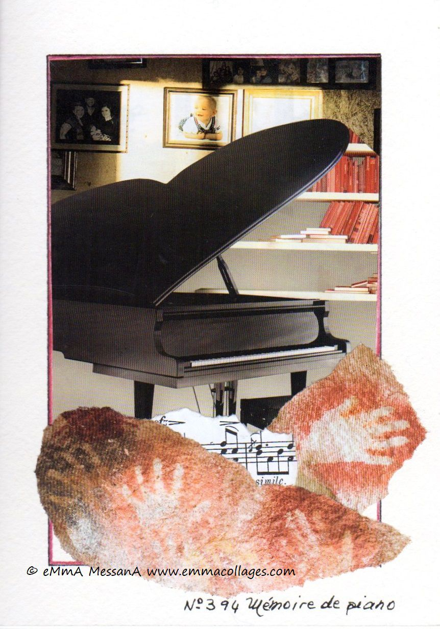 "Les Collages d'eMmA MessanA, collage N°394 ""Mémoire de piano"", exemplaire unique © eMmA MessanA"