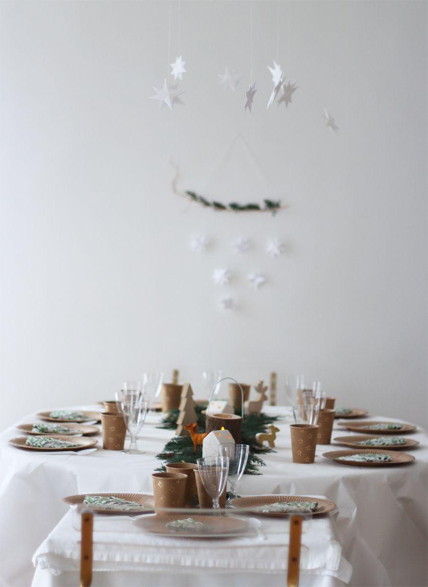 Table végétale et kraft dans l'esprit de noël pour mon goûter festif