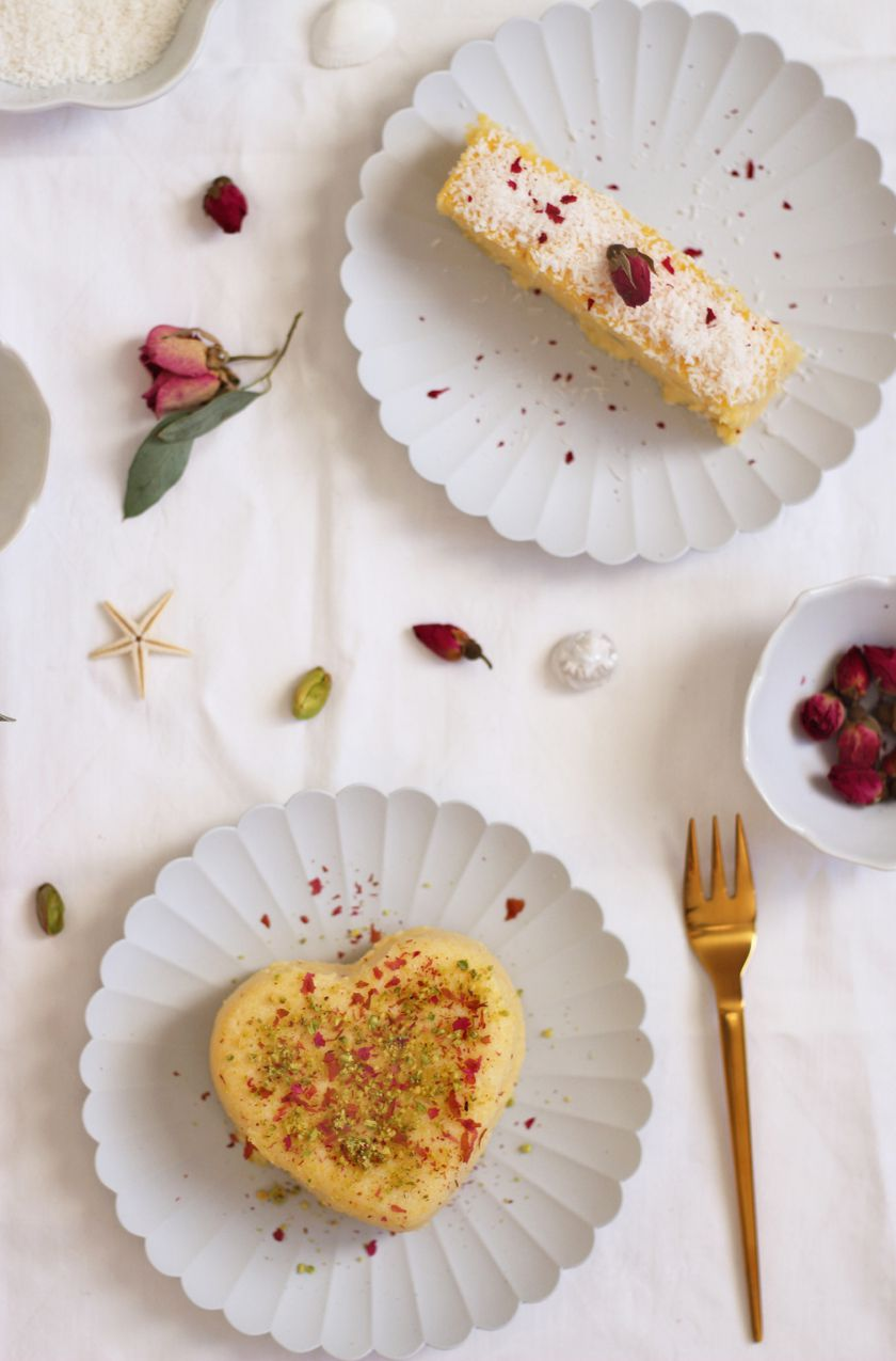 Pudding de maïs à la pistache-rose