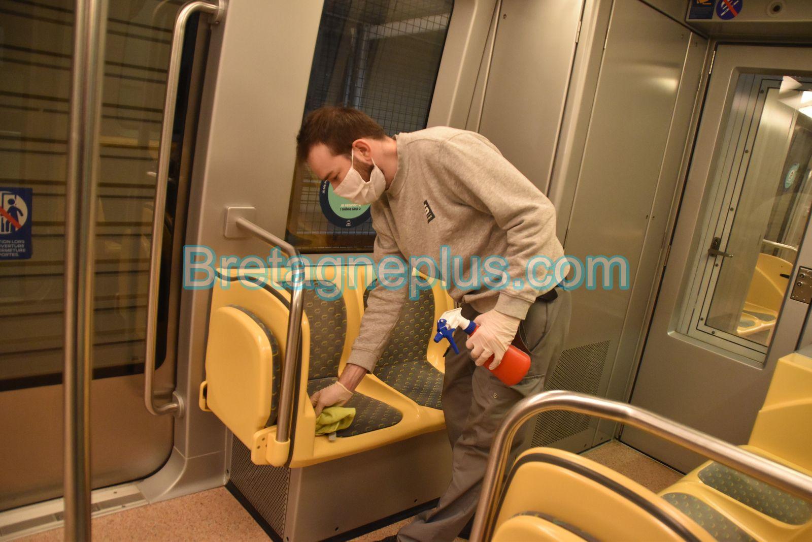 Désinfection des rames du métro de Rennes