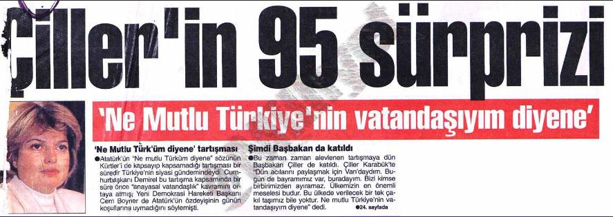 La manchette de première page de Milliyet, 1er janvier 1995