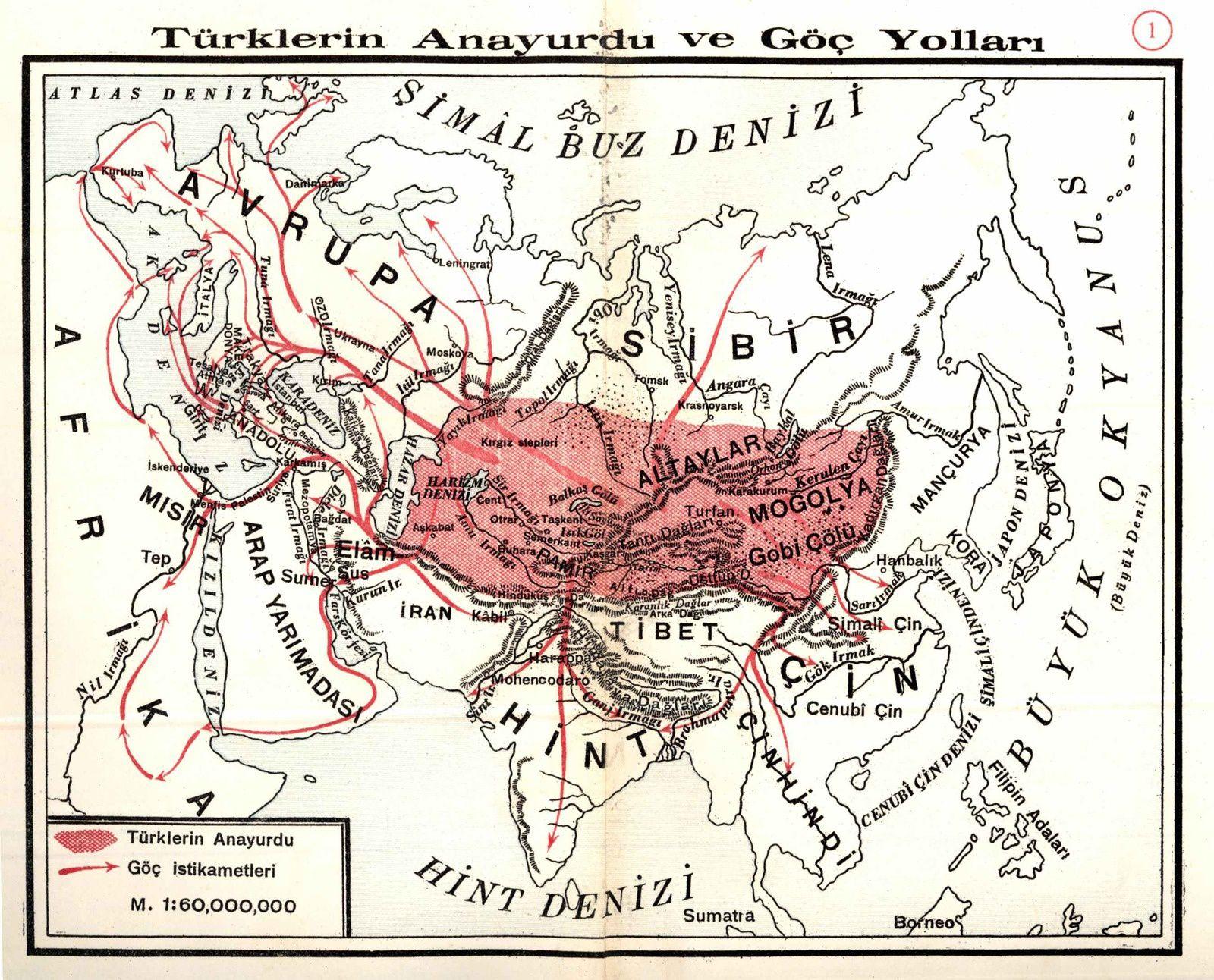 La migration alléguée des Turcs dans le continent eurasiatique... au VIIe millénaire avant J.C., qui aurait permis la naissance des civilisation. Carte extraite du manuel de la Société d'histoire turque pour la première année de lycée, 1931
