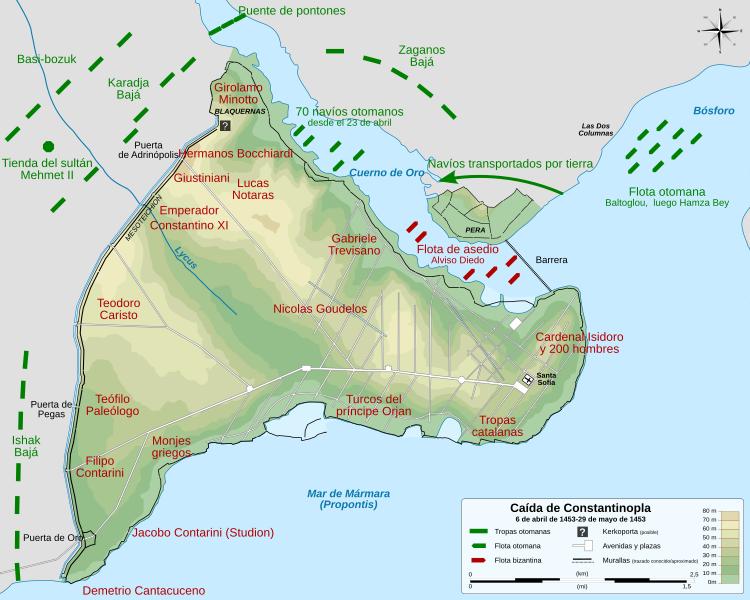 Le siège de Constantinople en 1453. Source: https://commons.wikimedia.org/wiki/File:Siege_of_Constantinople_1453_map-fr.svg?uselang=fr