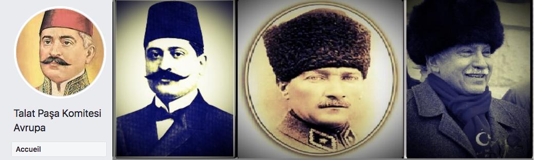La bannière du compte Facebook du Comité Talaat Pacha. Atatürk figure entre Talaat et Dogu Perinçek