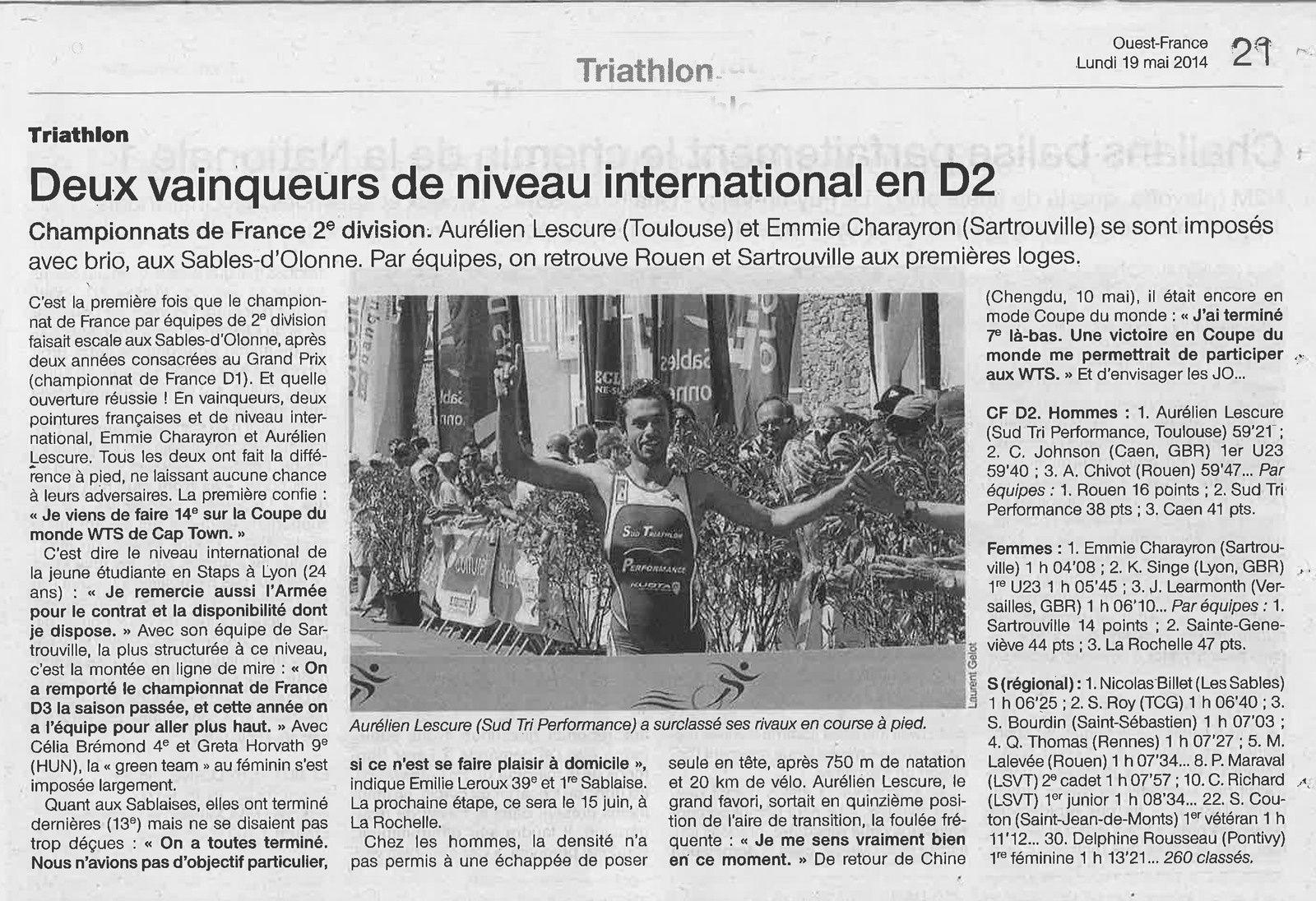 OUEST-FRANCE TRIATHLON DES SABLES 2014