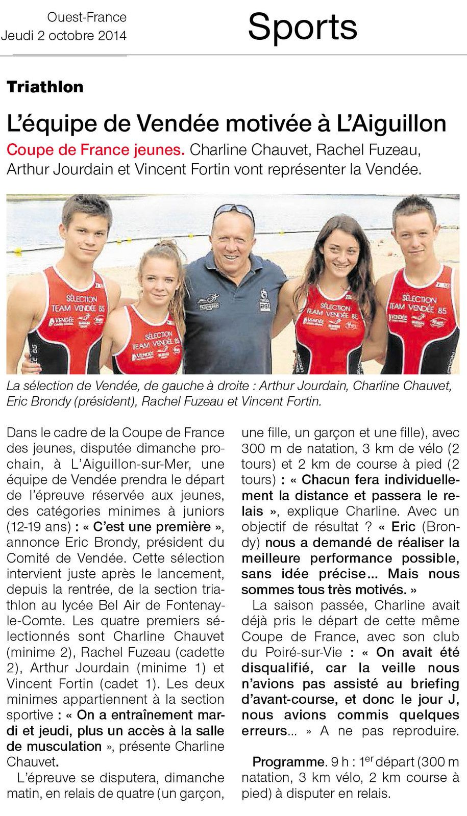OUEST FRANCE 02-10-2014