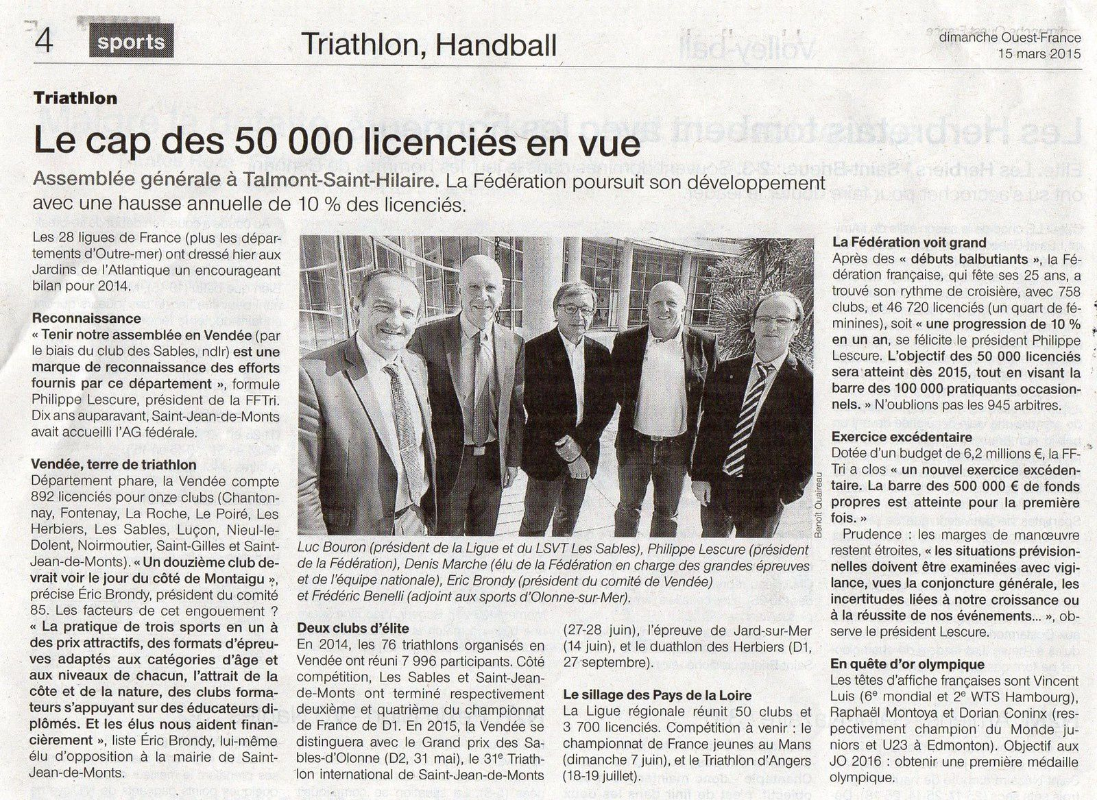 OUEST-FRANCE SPORTS 15 MARS 2015