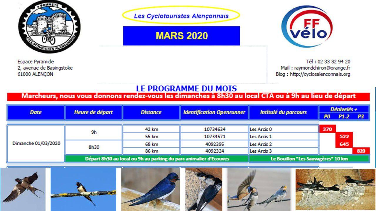 PROGRAMME MARS  AVRIL MAI  2020