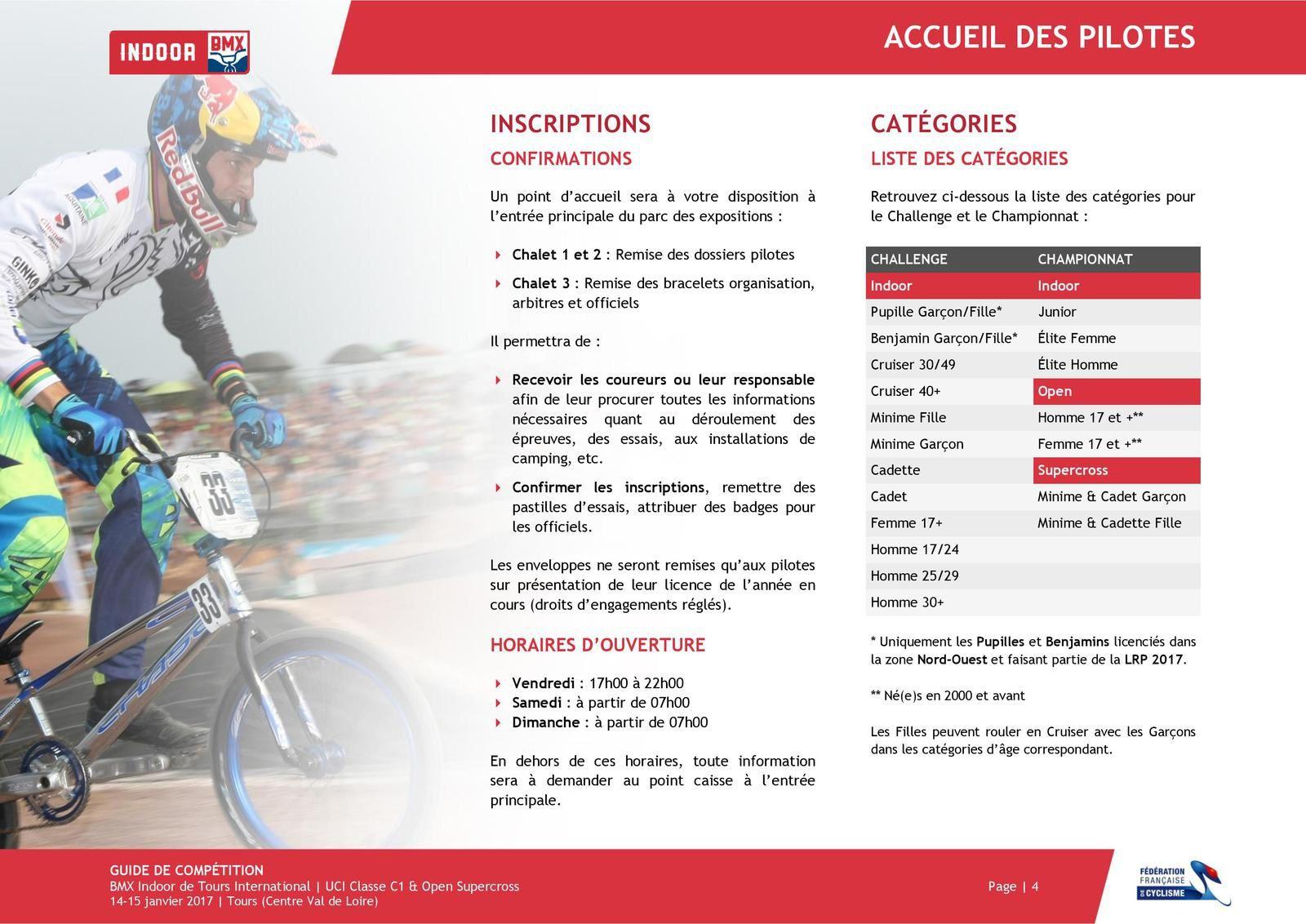 Le guide pour l'indoor de Tours 15 et 16 janvier