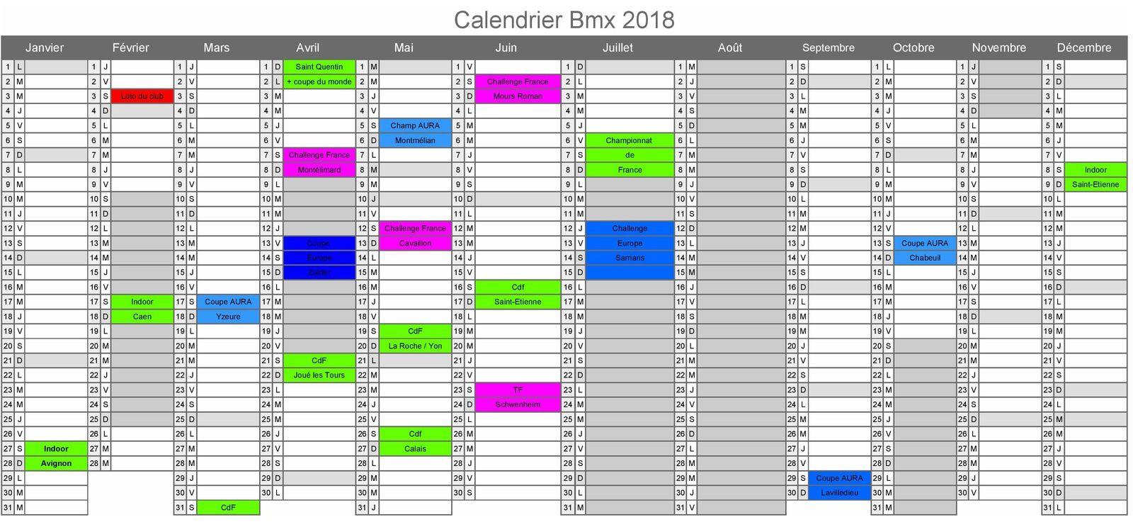 Le calendrier 2018 déjà bien avancé