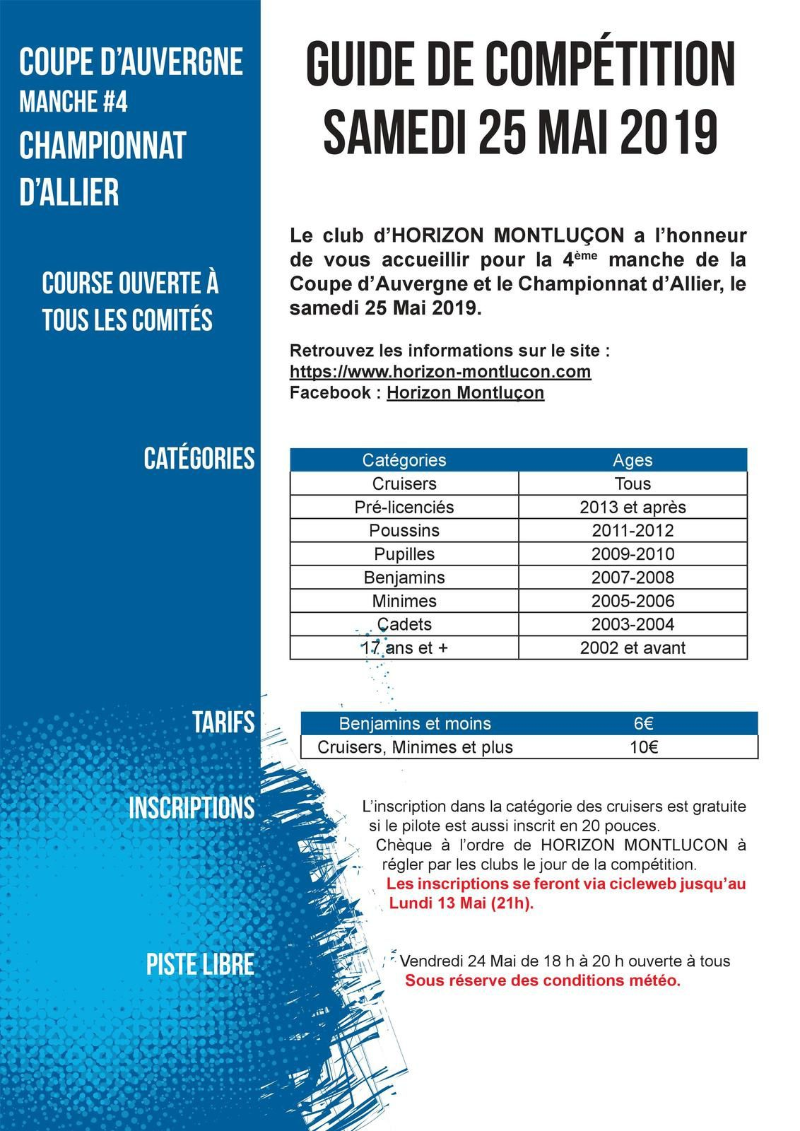 Invitation pour la 4e manche de la Coupe d'Auvergne à Montluçon